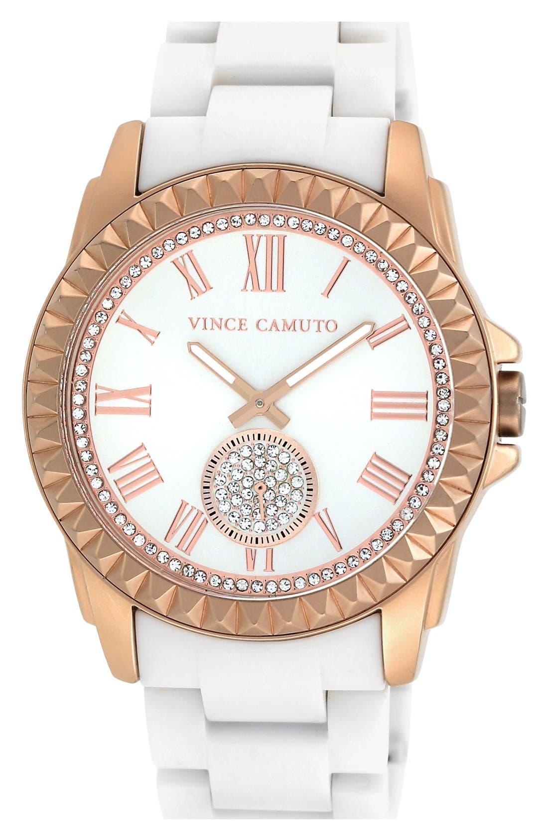 Alternate Image 1 Selected - Vince Camuto Pyramid Bezel Ceramic Bracelet Watch, 44mm x 49mm