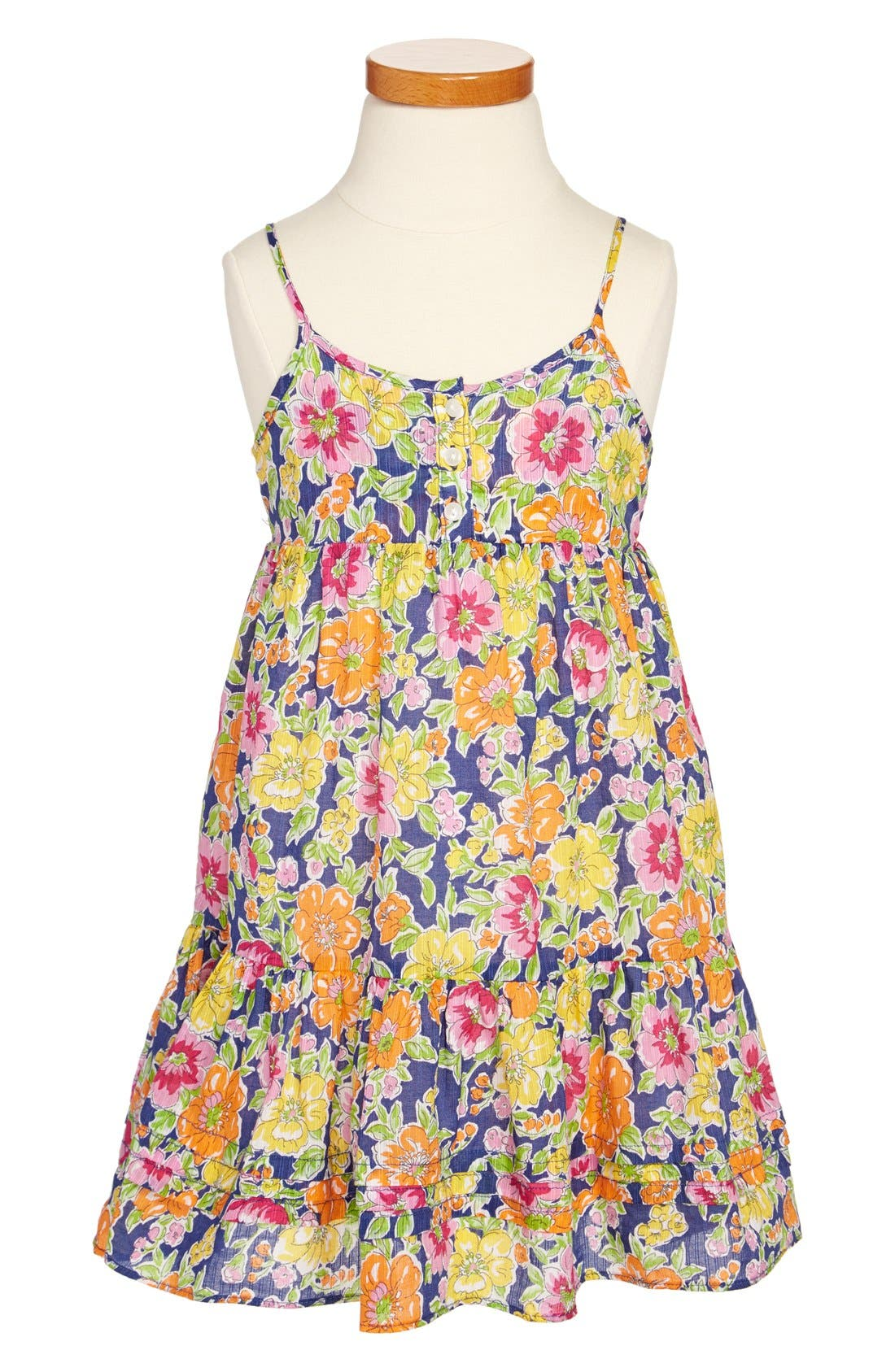 Main Image - Ralph Lauren Floral Print Cotton Sleeveless Dress (Toddler Girls)