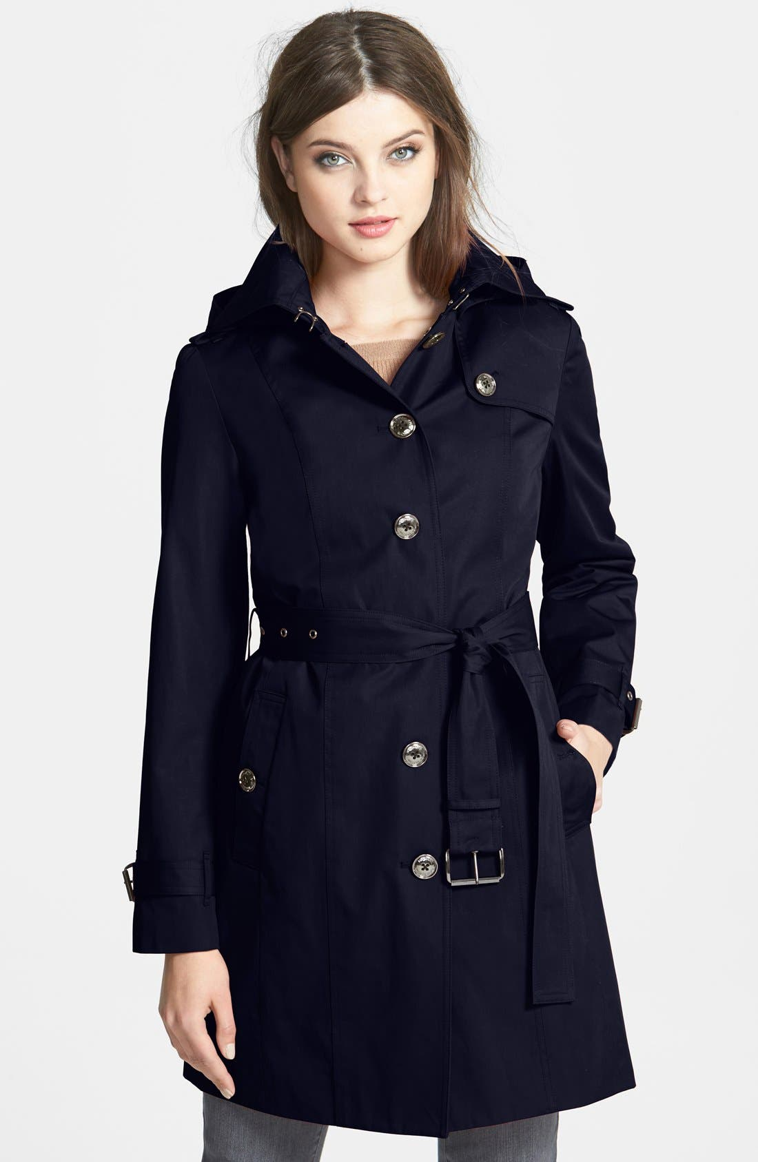 Main Image - MICHAEL Michael Kors Trench Coat with Detachable Hood & Liner (Online Only)
