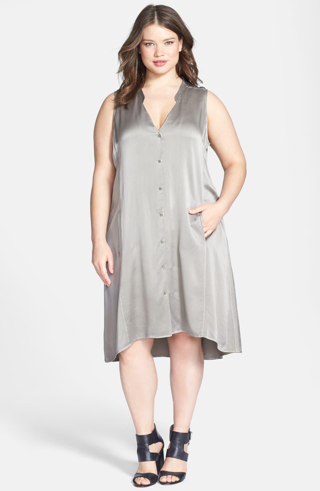 Main Image - Eileen Fisher Washed Silk Charmeuse Mandarin Collar V-Neck Shift Dress (Plus Size)