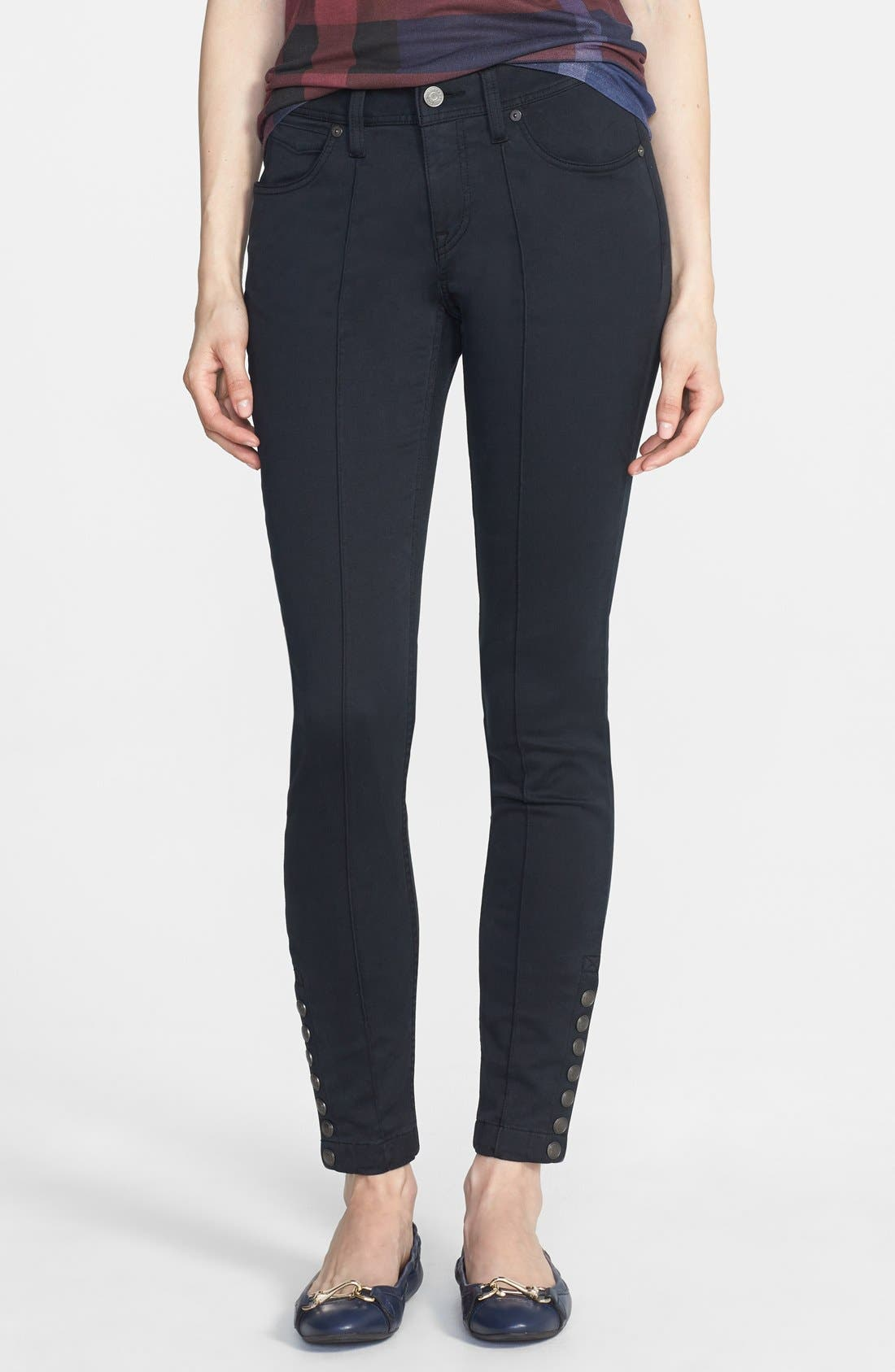 Alternate Image 1 Selected - Burberry Brit 'Kemberton' Snap Ankle Stretch Cotton Skinny Pants