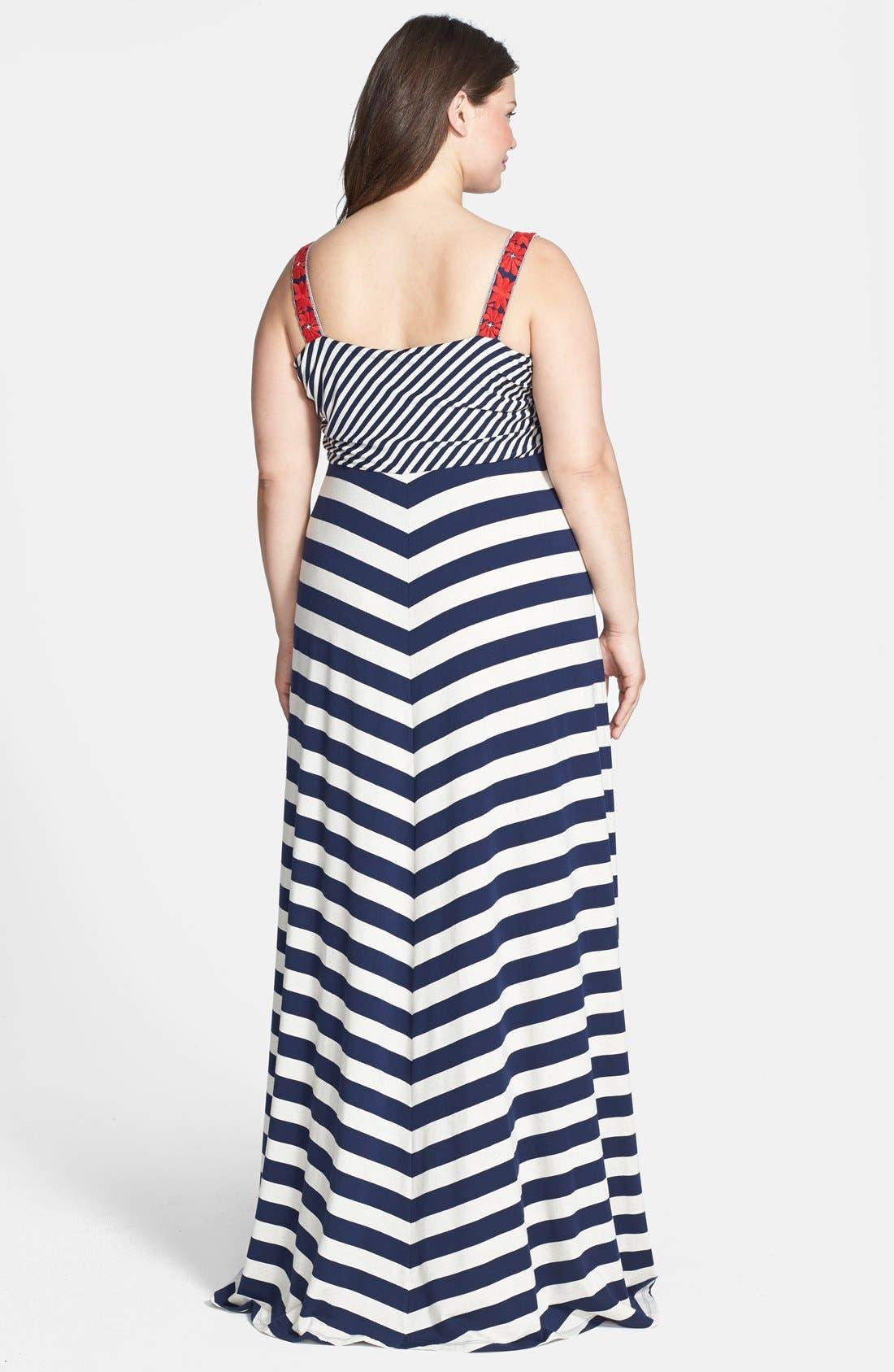 Alternate Image 2  - Lucky Brand Chevron Stripe Maxi Dress (Plus Size)