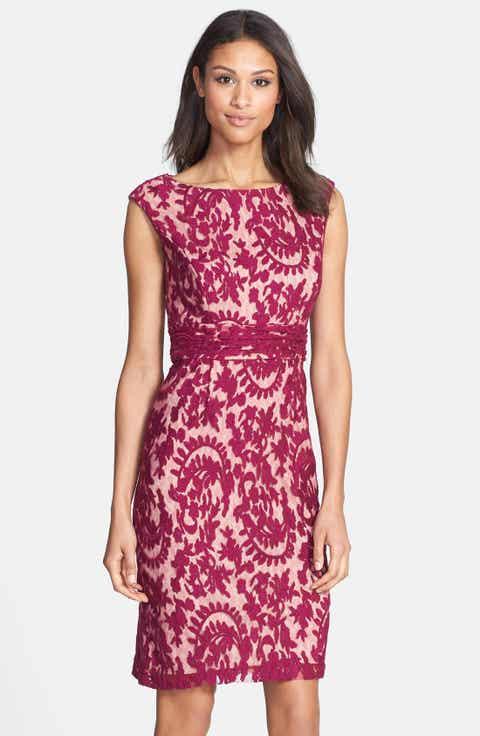 Adrianna Papell Lace Overlay Sheath Dress (Regular   Petite)
