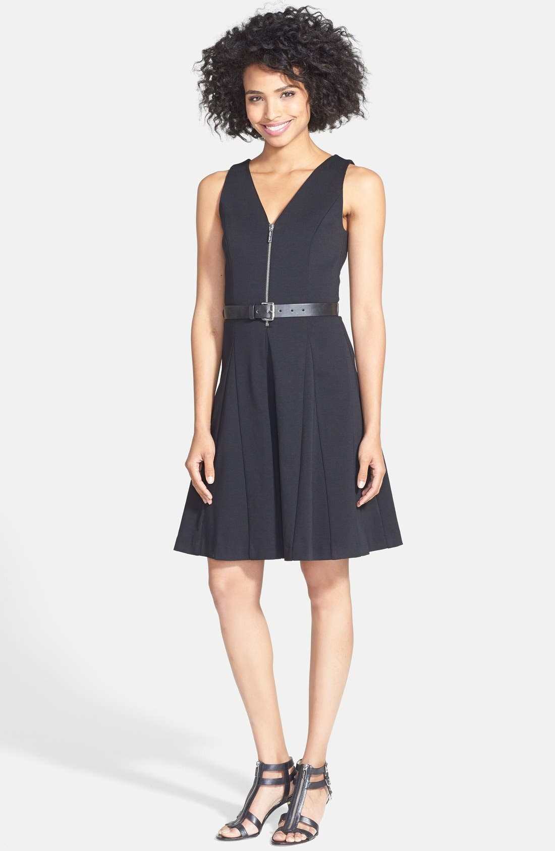 Main Image - MICHAEL Michael Kors Belted Fit & Flare Dress