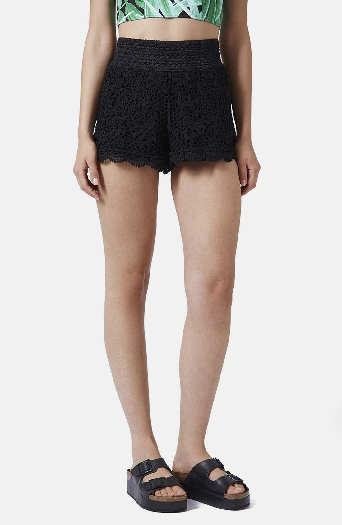 Alternate Image 1 Selected - Topshop Crochet Shorts