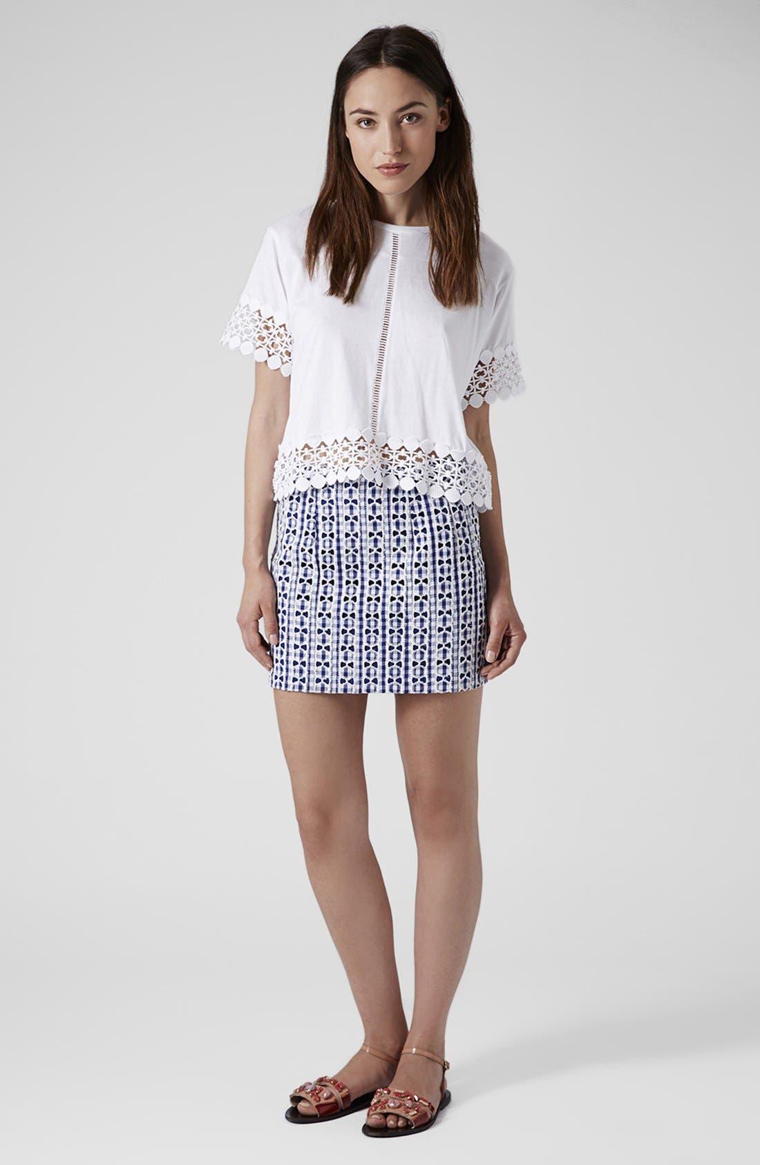 Alternate Image 5  - Topshop Lace Gingham Pelmet Skirt (Petite)