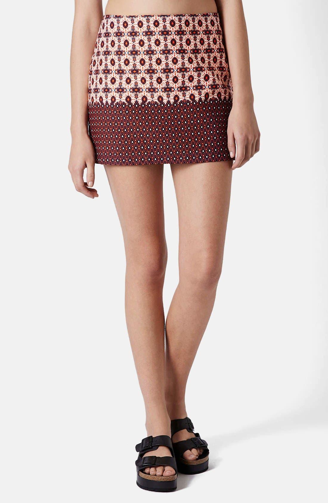 Alternate Image 1 Selected - Topshop Mixed Tile Print Pelmet Skirt