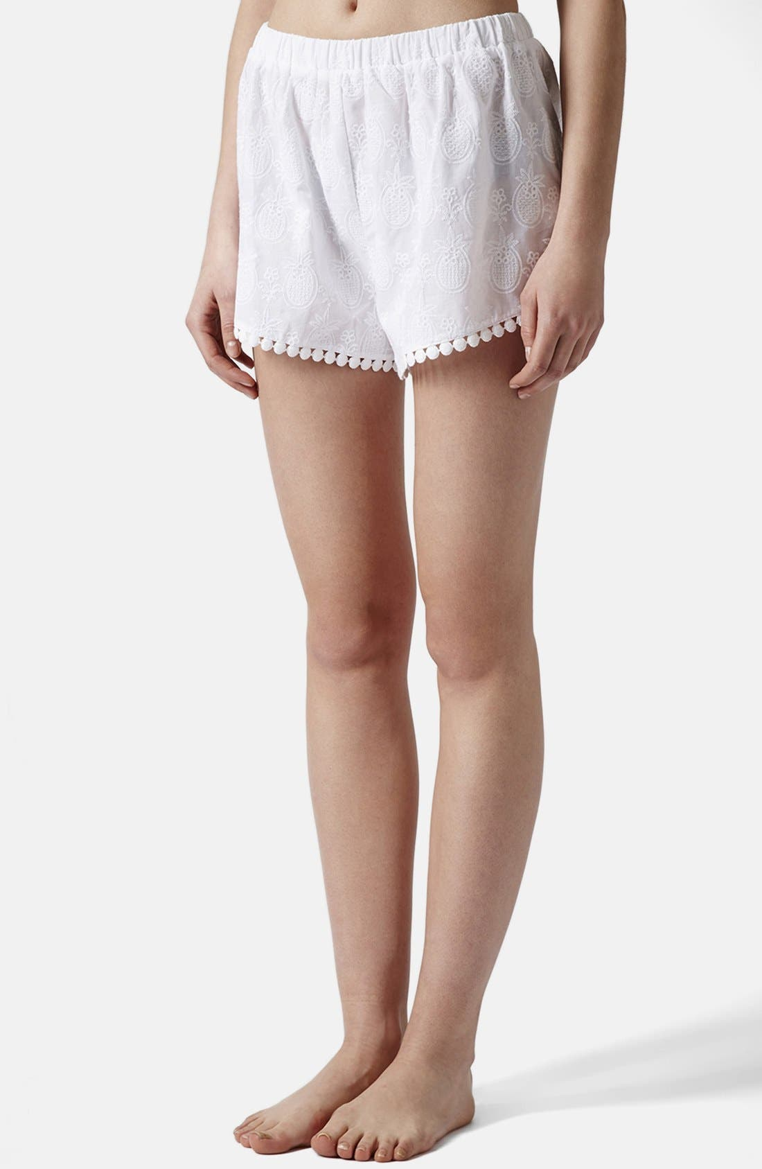 Alternate Image 1 Selected - Topshop Pineapple Embroidered Cotton Shorts