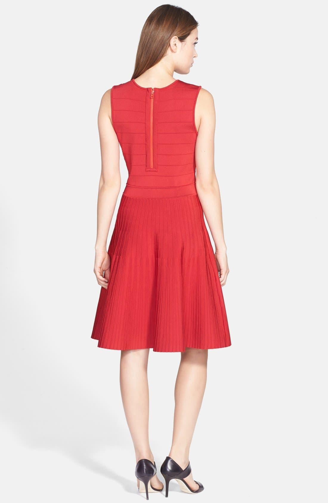 Alternate Image 2  - Pink Tartan Ribbed Fit & Flare Dress