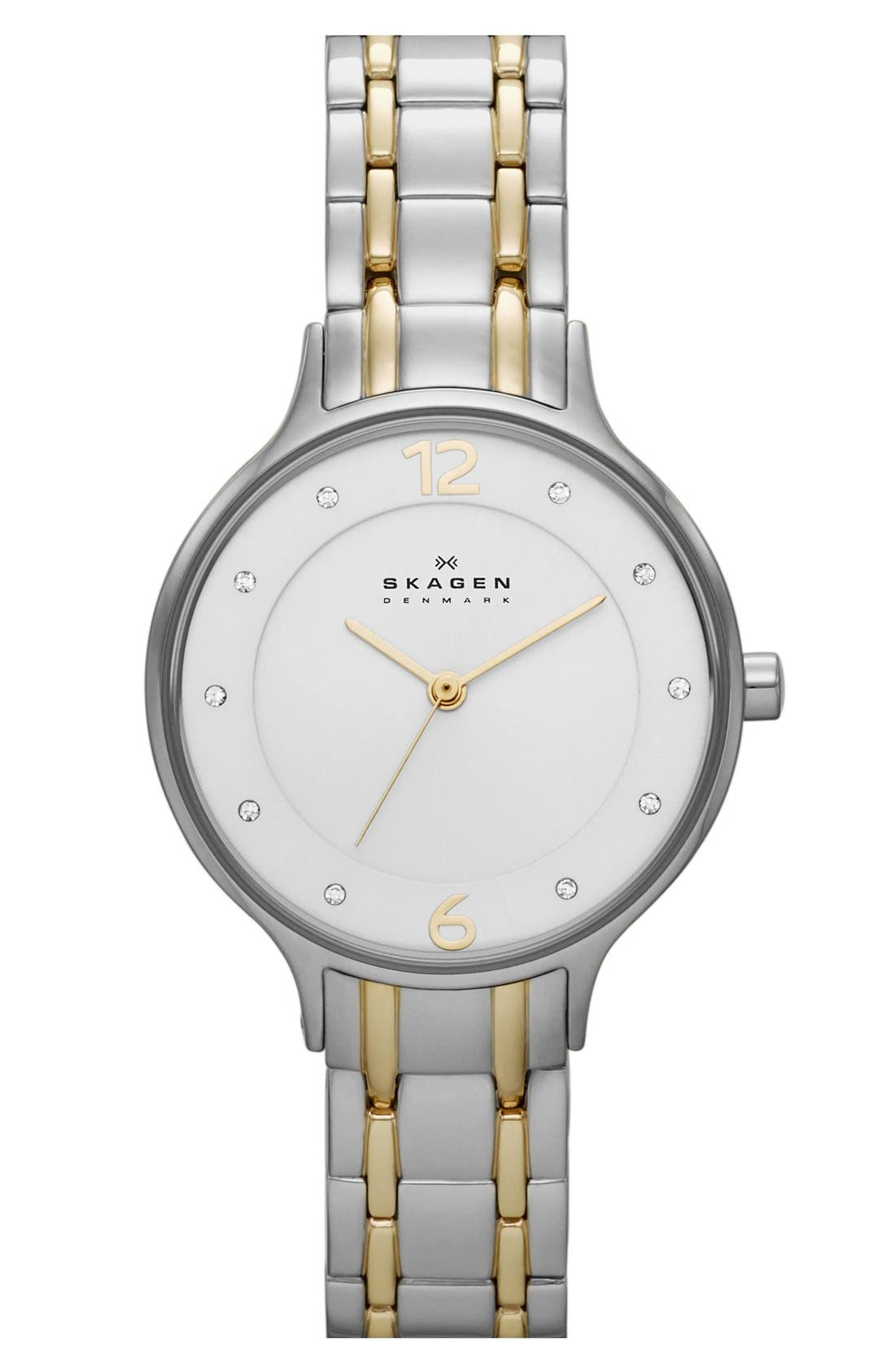 Main Image - Skagen 'Anita' Crystal Index Bracelet Watch, 30mm (Nordstrom Exclusive)