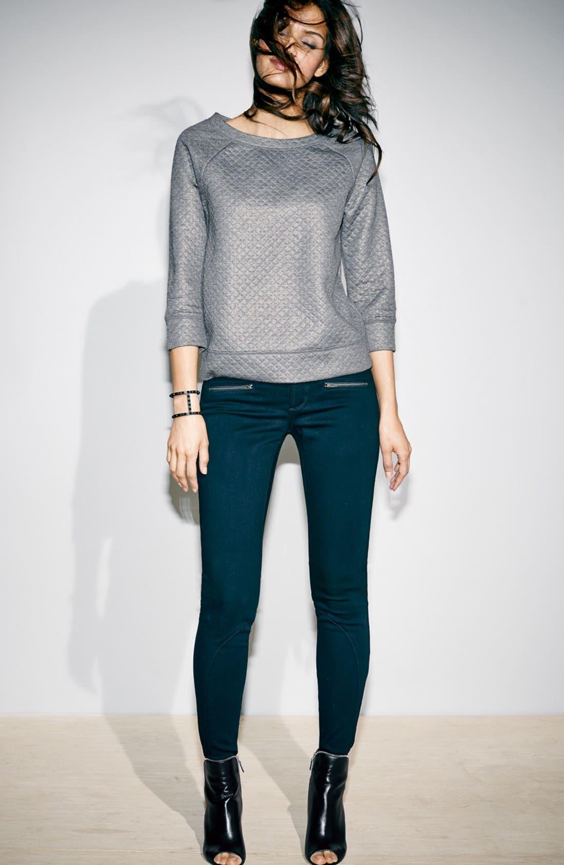 Alternate Image 5  - Halogen® Foiled Sweatshirt (Petite)