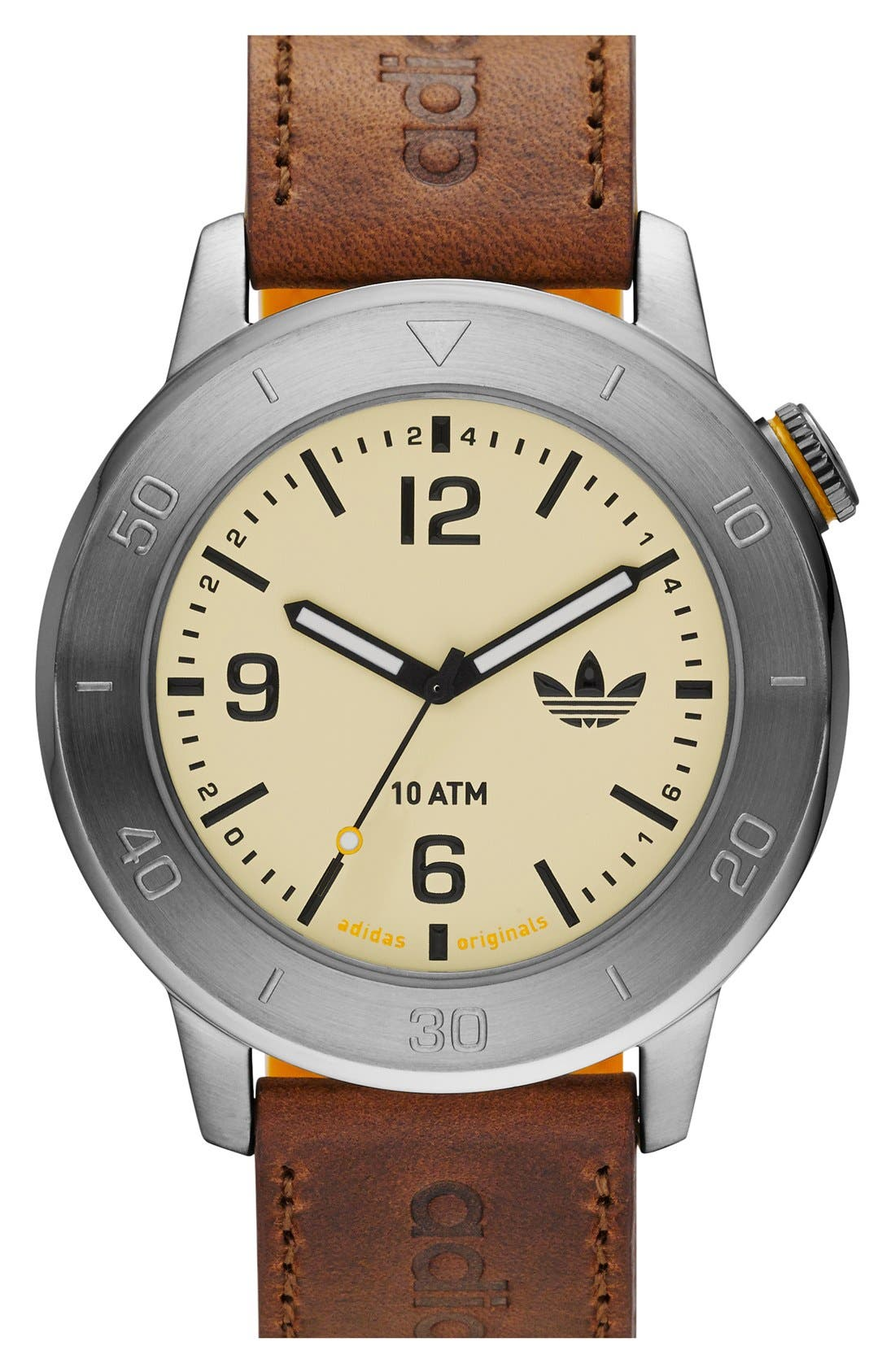 Main Image - adidas Originals 'Manchester' Leather & Silicone Strap Watch, 46mm