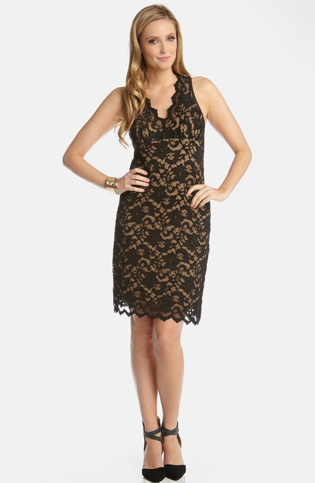 Alternate Image 1 Selected - Karen Kane V-Neck Lace Dress