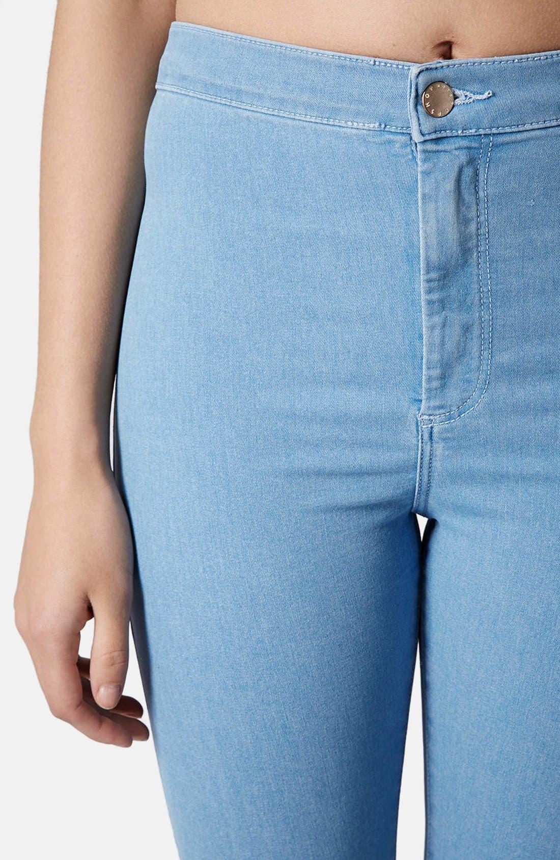 Alternate Image 4  - Topshop Moto 'Joni' Ripped High Rise Skinny Jeans (Light Denim) (Short)