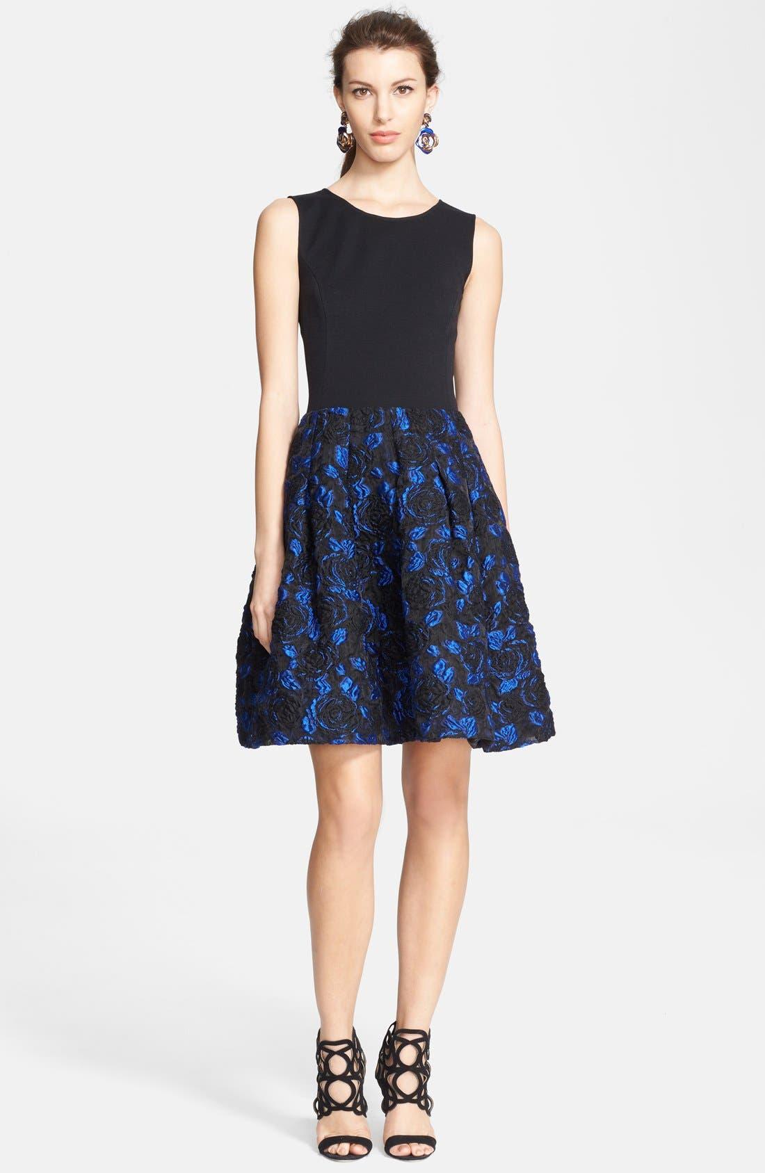 Main Image - Oscar de la Renta Jacquard Skirt Fit & Flare Dress