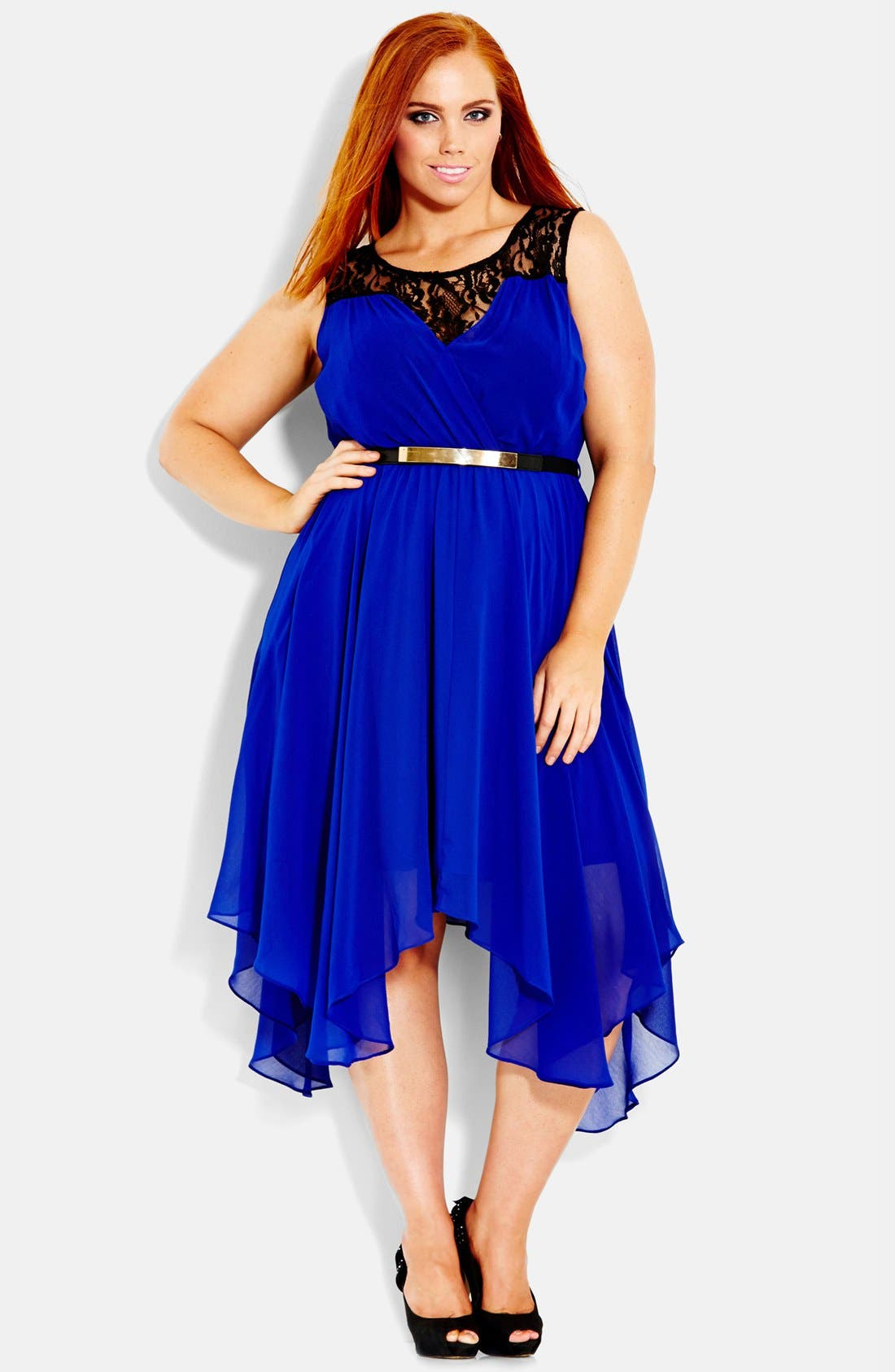 Main Image - City Chic Chiffon & Lace Keyhole Dress (Plus Size)