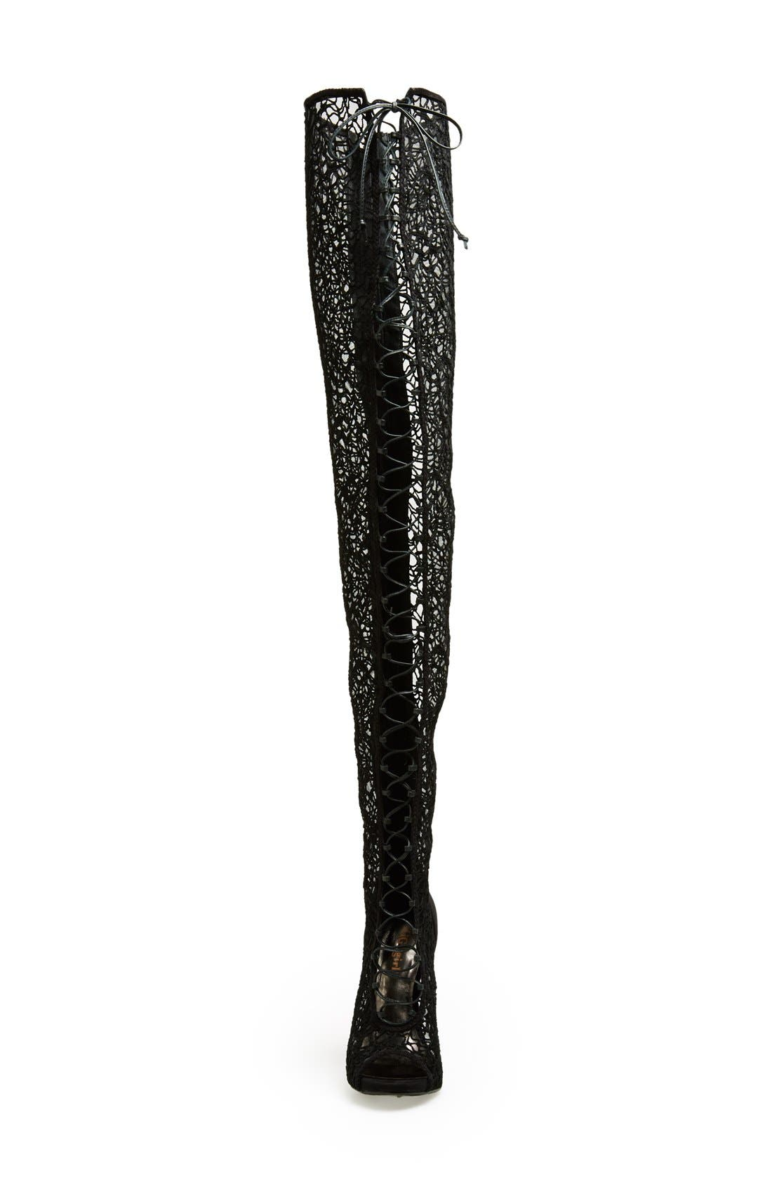 Alternate Image 3  - ZiGi girl 'Maili' Lace Inset Thigh-High Boot with Corset Laces (Women)