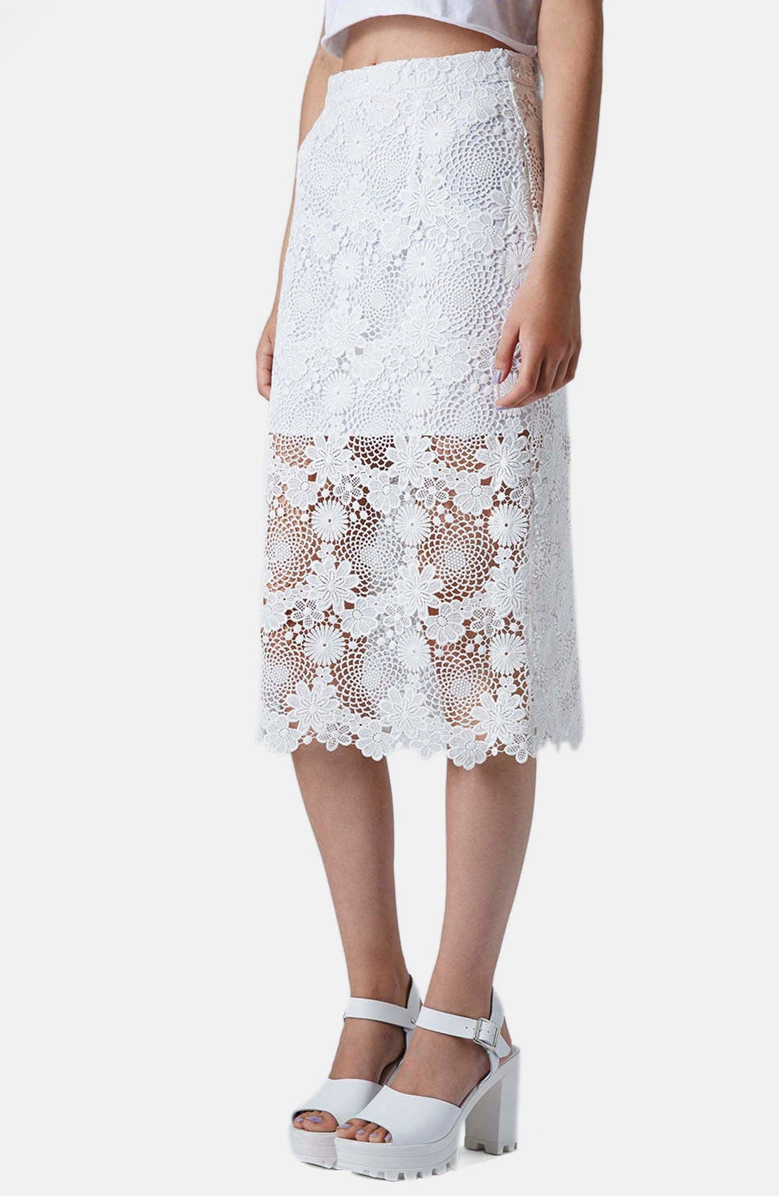 Main Image - Topshop Lace Pencil Skirt