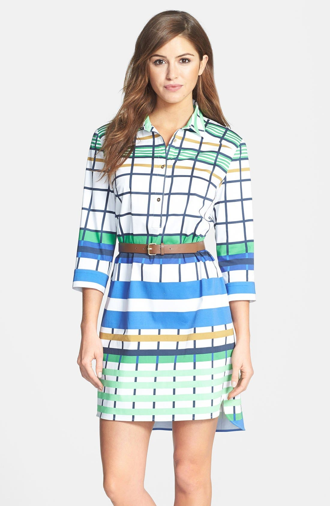 Alternate Image 1 Selected - Donna Morgan Check Print Shirtdress