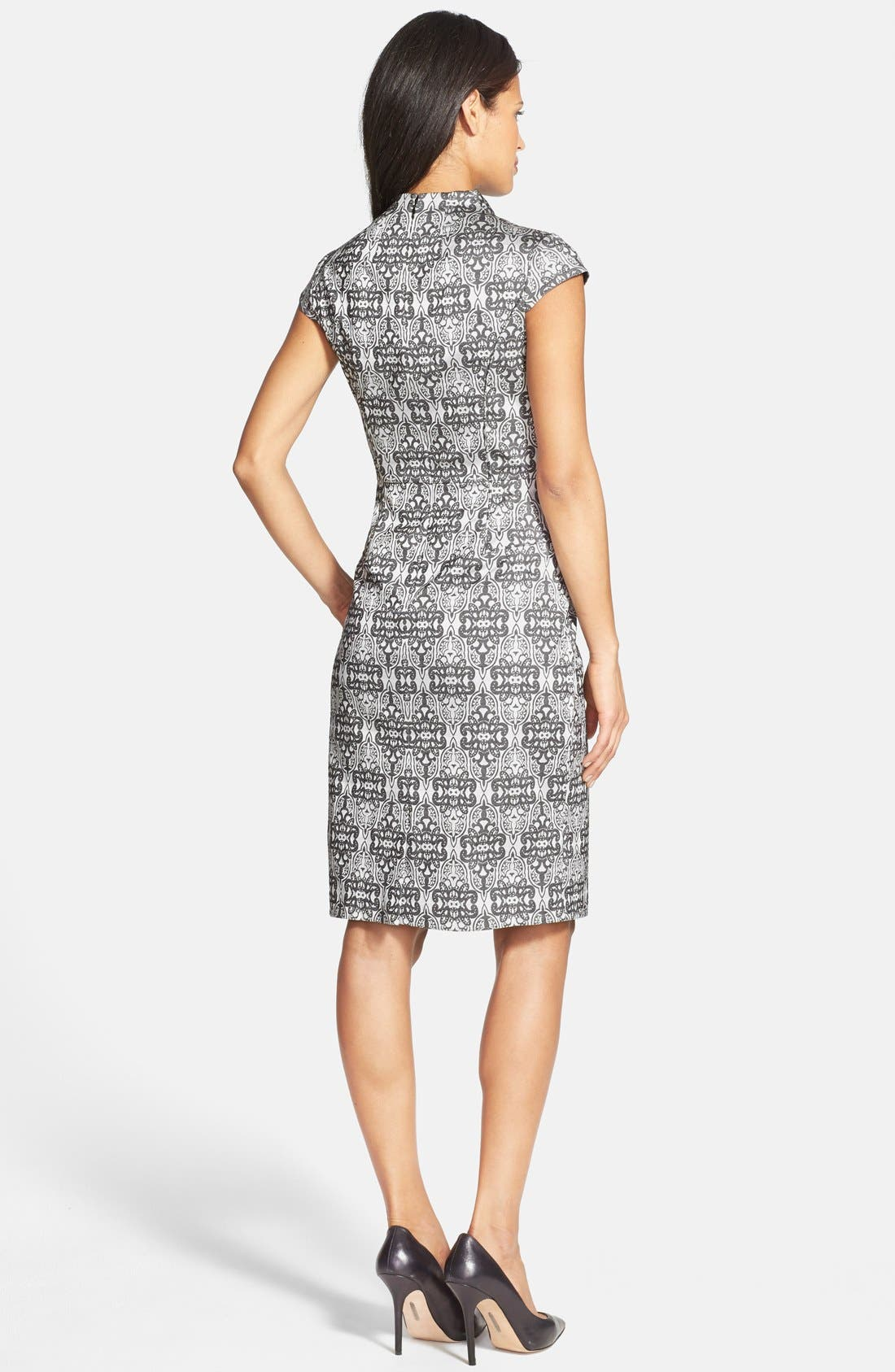 Alternate Image 2  - Adrianna Papell Cap Sleeve Print Sheath Dress (Regular & Petite)