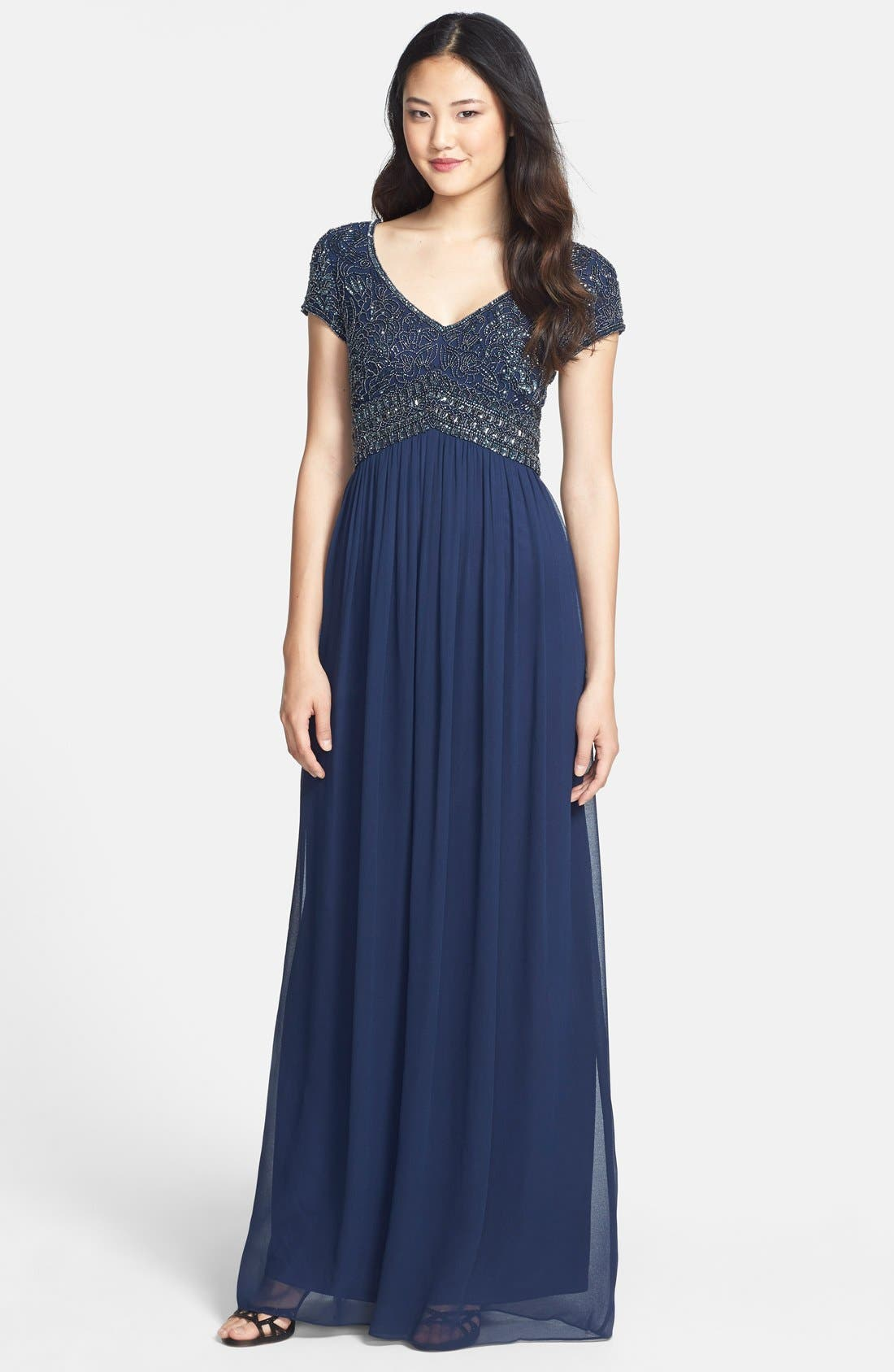 Alternate Image 1 Selected - Adrianna Papell Embellished Cap Sleeve Gown