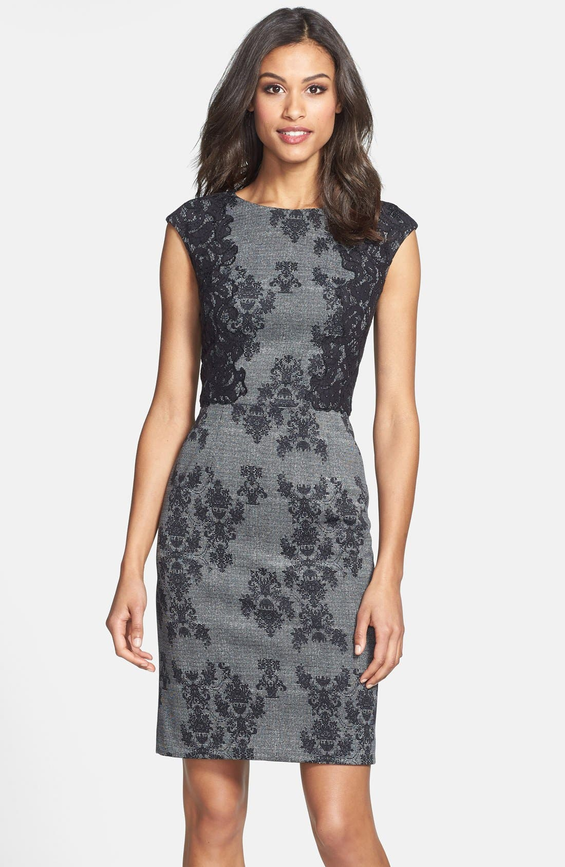 Alternate Image 1 Selected - Adrianna Papell Placed & Print Lace Sheath Dress (Regular & Petite)