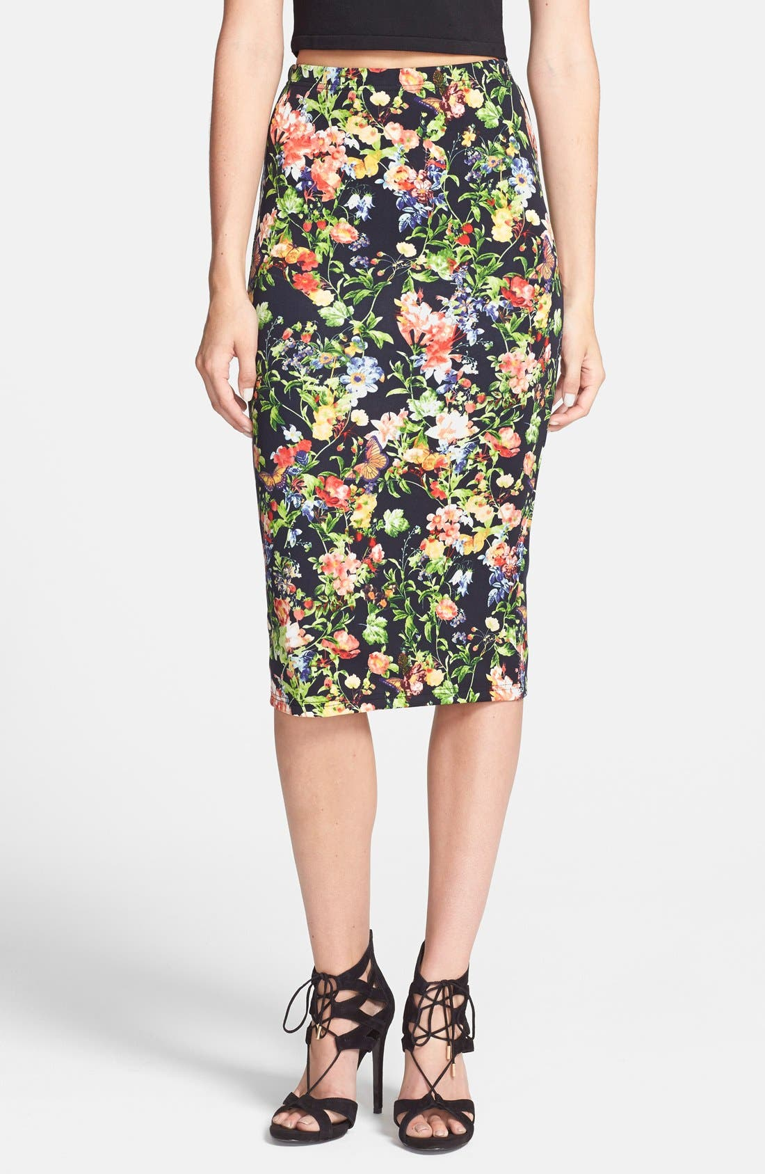Alternate Image 1 Selected - Glamorous Floral Scuba Midi Skirt