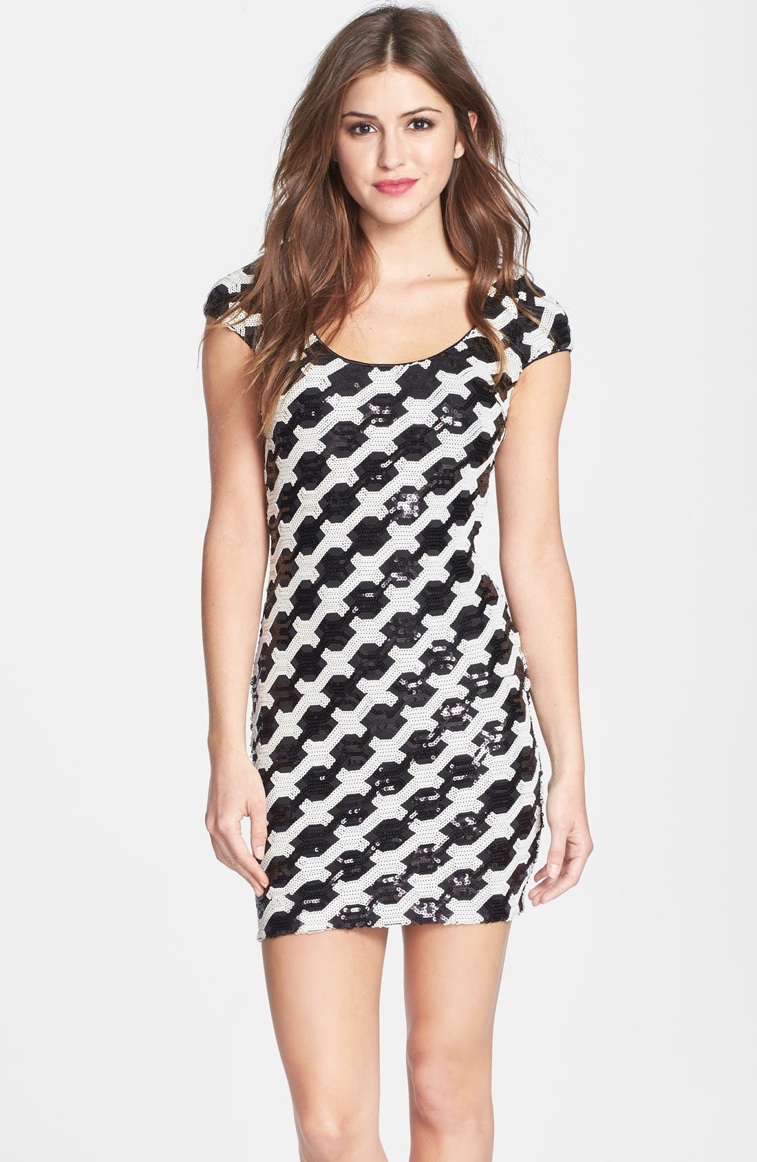 Alternate Image 1 Selected - Dress the Population 'Gabriella' Back Cutout Sequin Body-Con Dress (Nordstrom Online Exclusive)