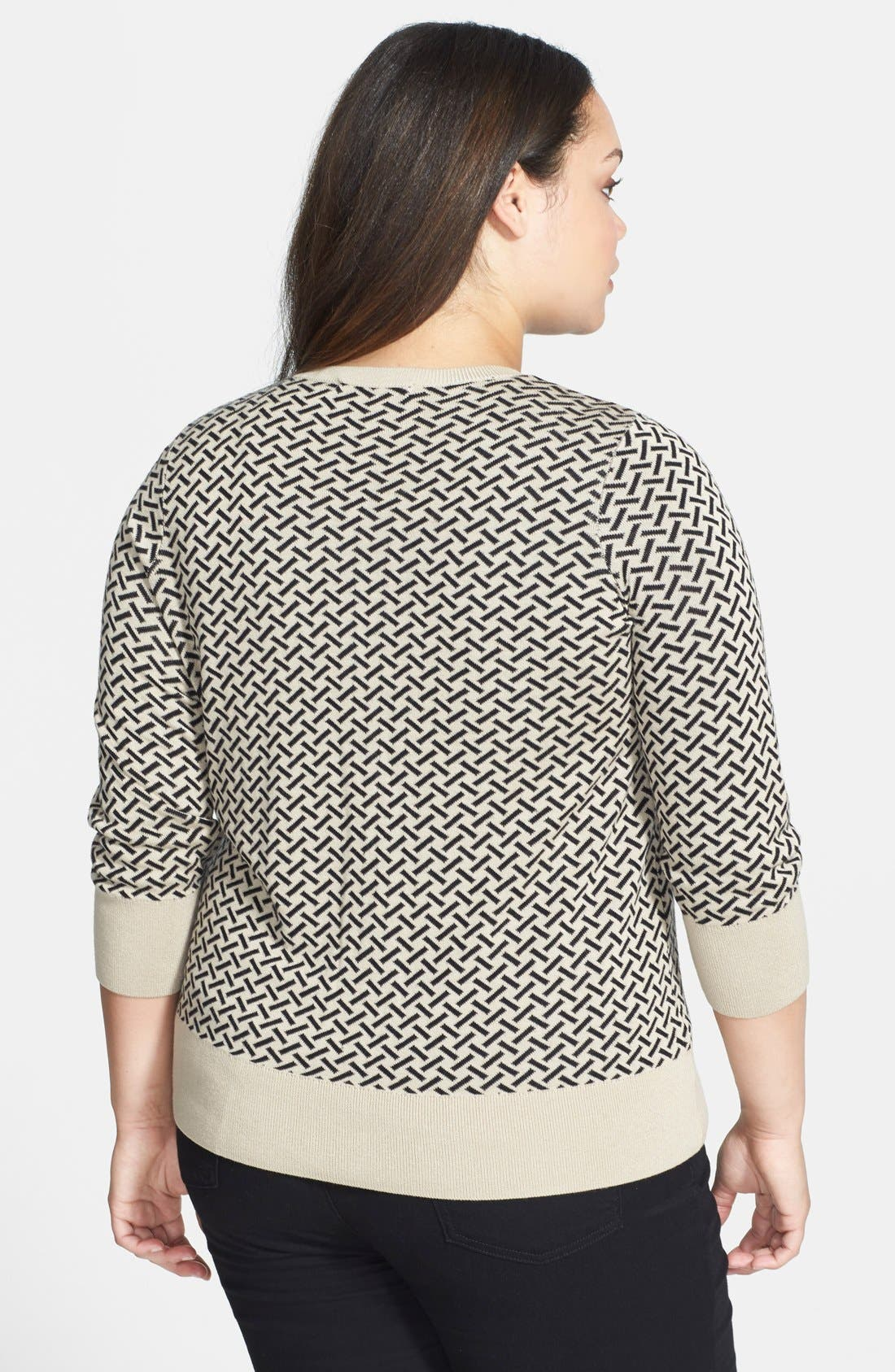 Alternate Image 2  - Sejour Patterned Crewneck Cardigan (Plus Size)