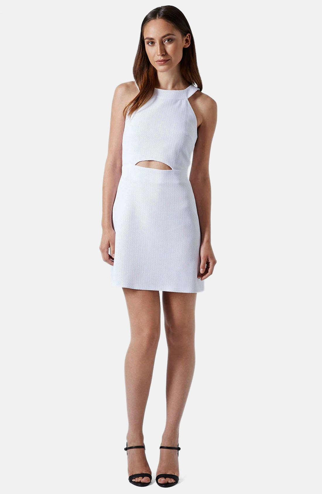 Alternate Image 5  - Topshop Cutout Textured Skater Dress