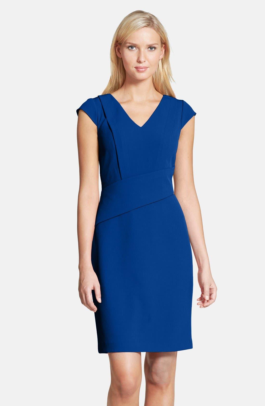 Main Image - Adrianna Papell Asymmetric Waist Stretch Crepe Sheath Dress