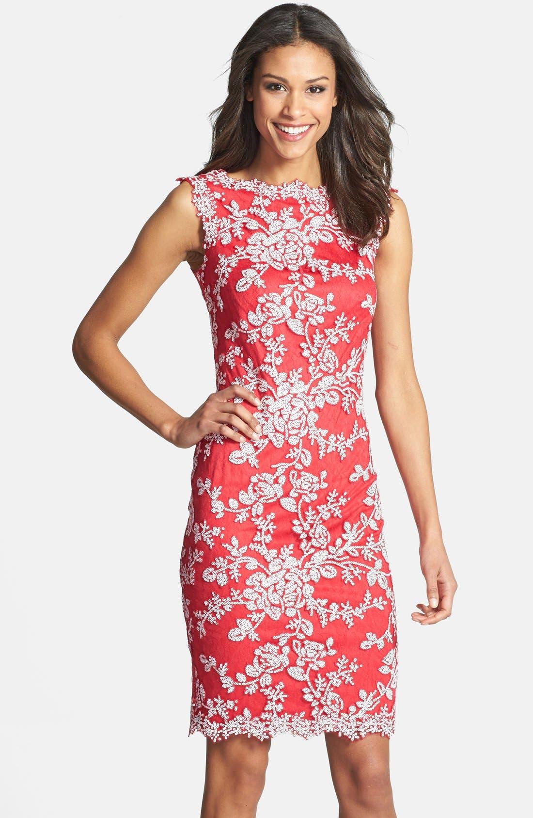Alternate Image 1 Selected - Tadashi Shoji Embellished Lace Sheath Dress