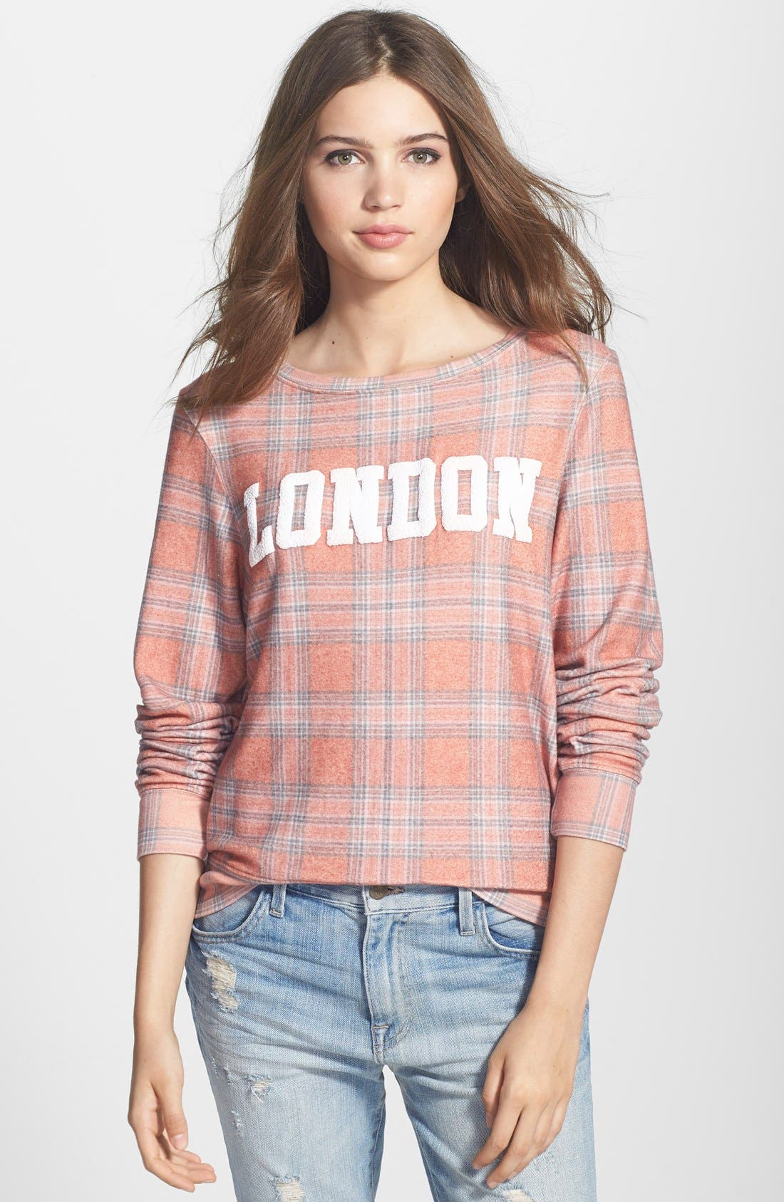Alternate Image 1 Selected - Wildfox 'London' Plaid Pullover