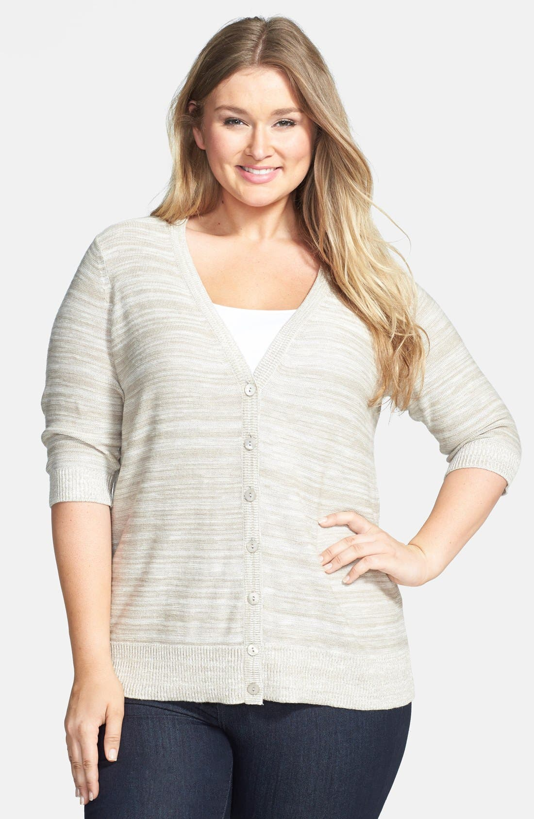 Alternate Image 1 Selected - Sejour Elbow Sleeve Cotton Blend V-Neck Cardigan (Plus Size)