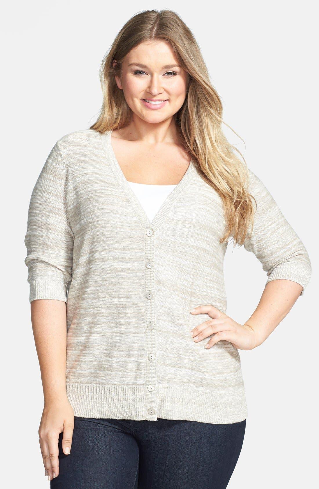 Main Image - Sejour Elbow Sleeve Cotton Blend V-Neck Cardigan (Plus Size)