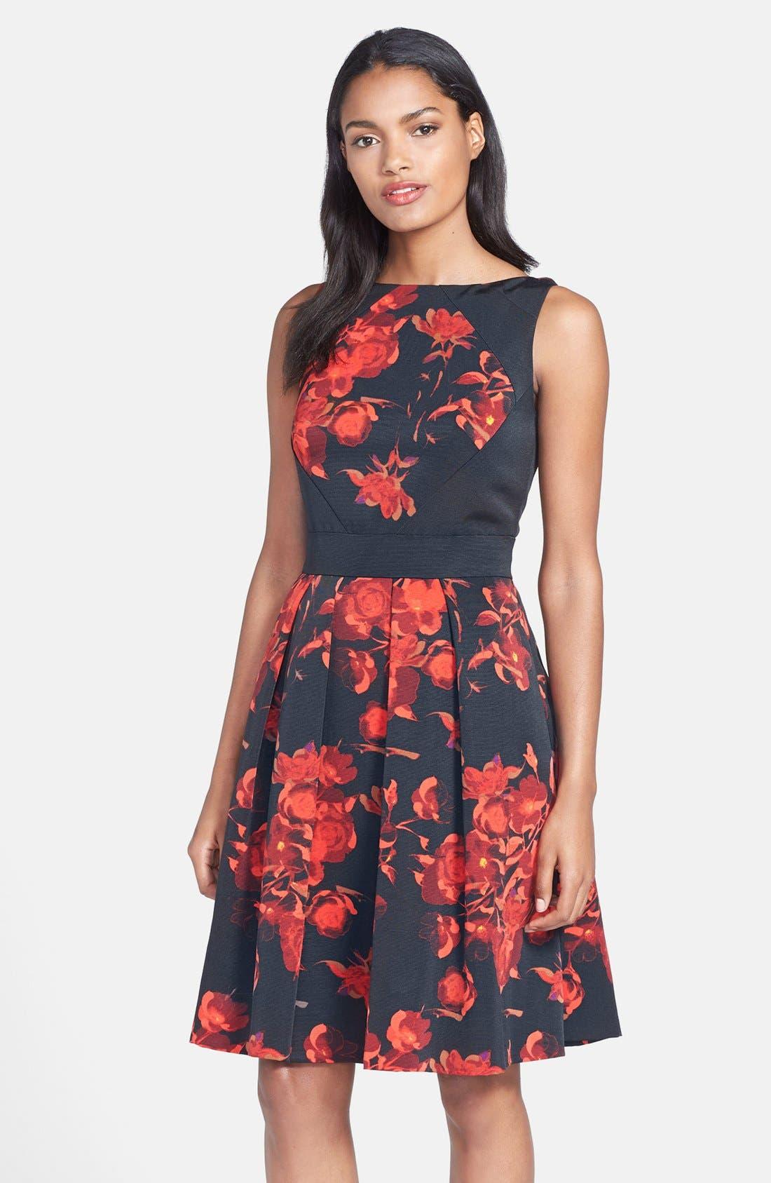 Main Image - Taylor Dresses Floral Print Fit & Flare Dress (Regular & Petite)