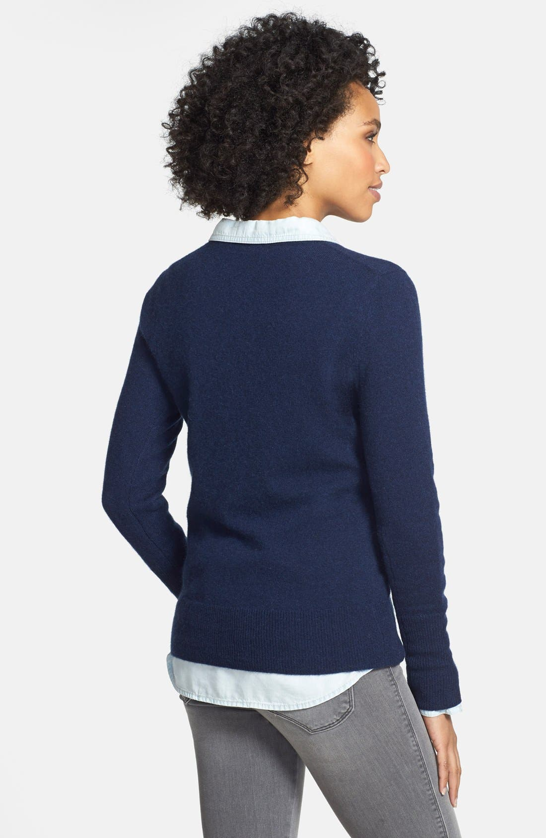 Alternate Image 2  - Halogen® Cashmere V-Neck Sweater (Regular & Petite)