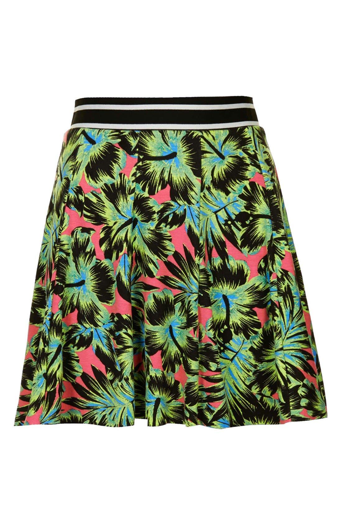 Alternate Image 3  - Topshop Hawaiian Print Pleated Skirt