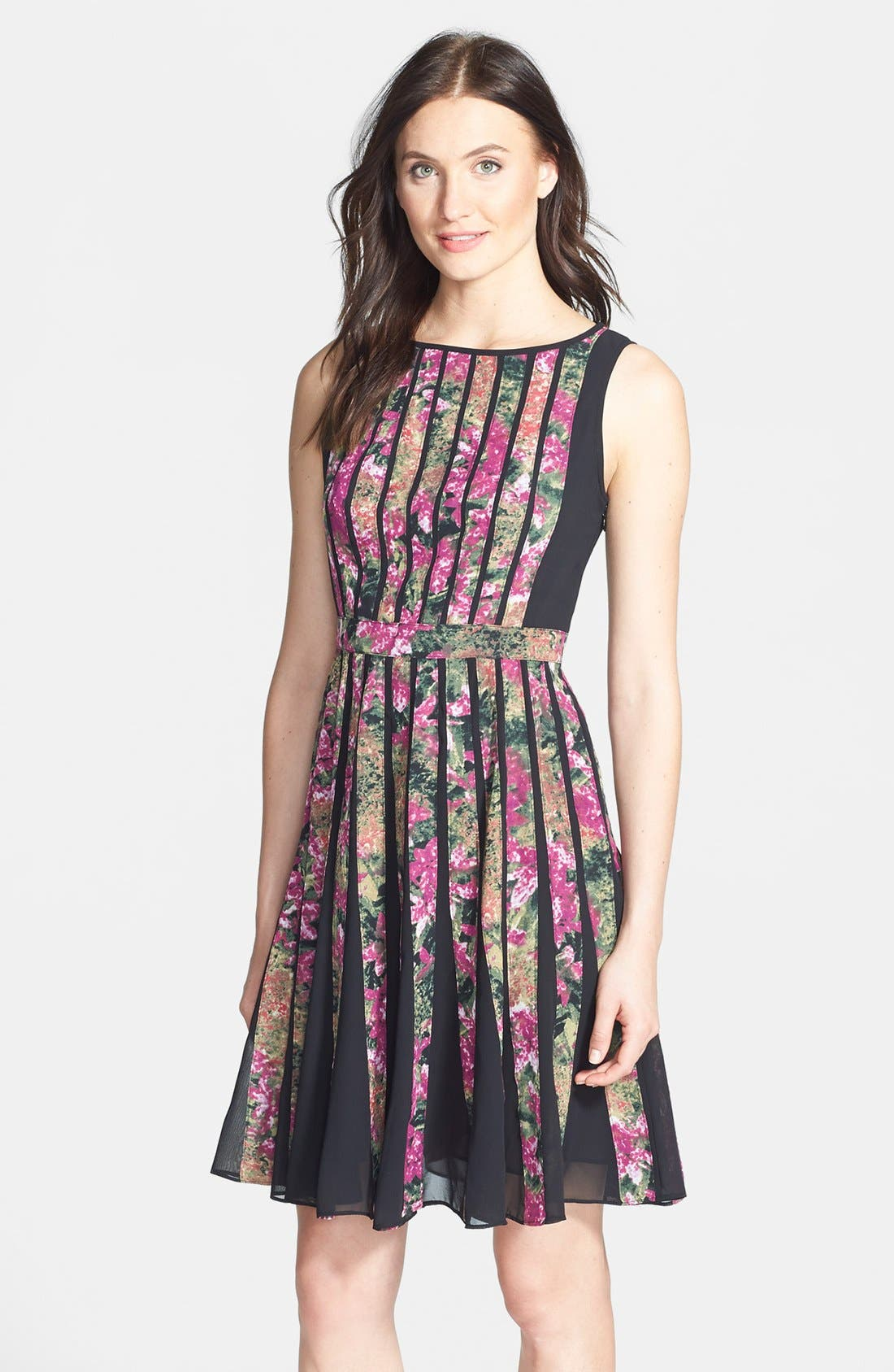Alternate Image 1 Selected - Adrianna Papell Spliced Floral Print Fit & Flare Dress