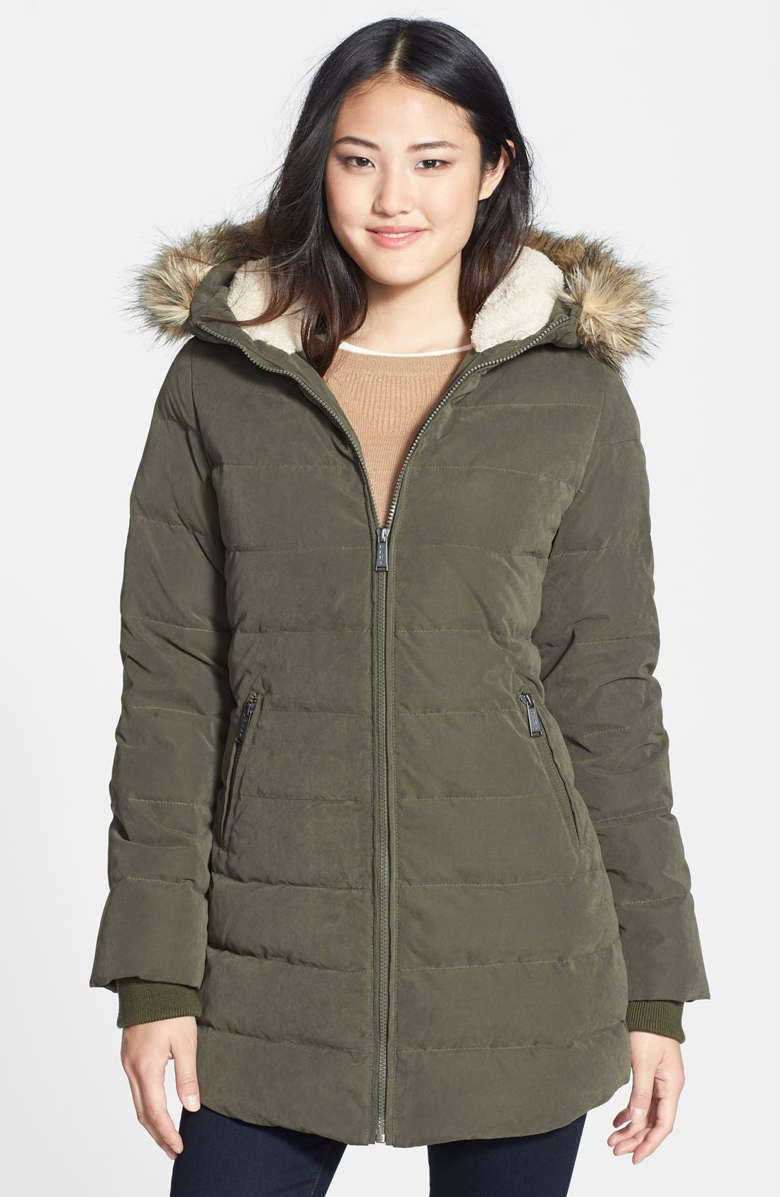 Main Image - DKNY Faux Fur Trim Down & Feather Anorak