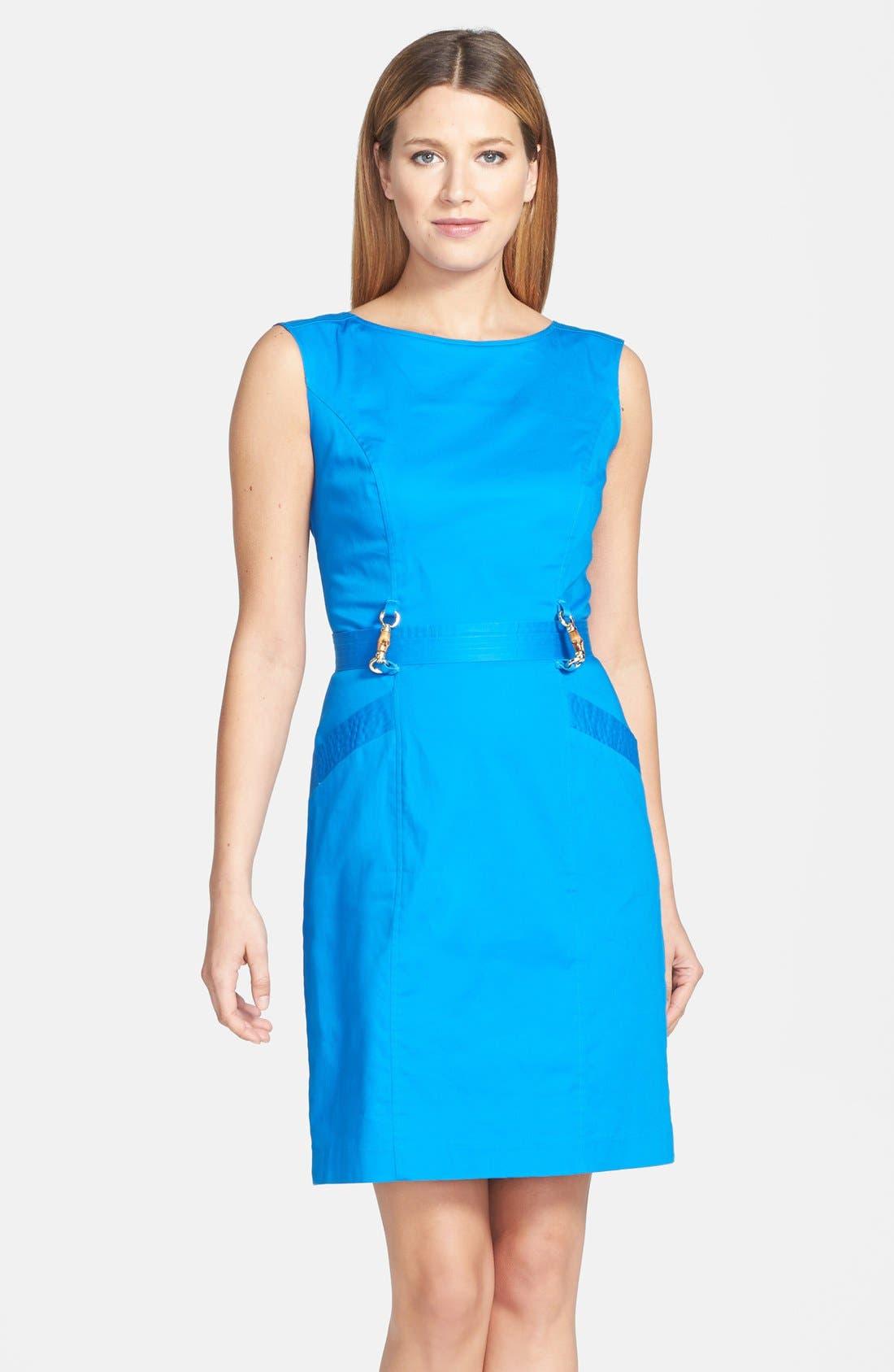 Main Image - Ellen Tracy Belted Sleeveless Stretch Cotton Sheath Dress (Regular & Petite)
