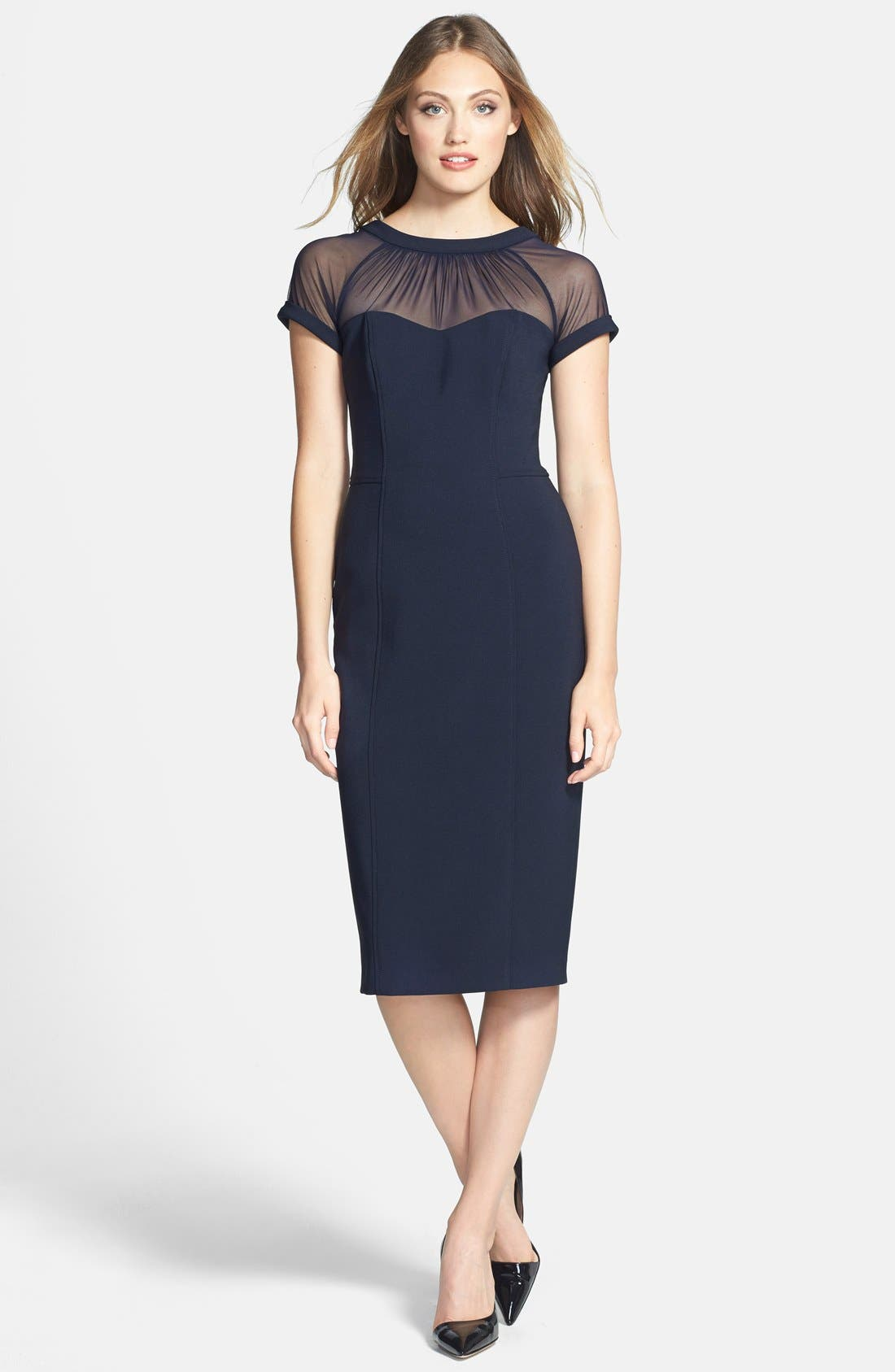 Alternate Image 3  - Maggy London Illusion Yoke Crepe Sheath Dress (Regular & Petite)