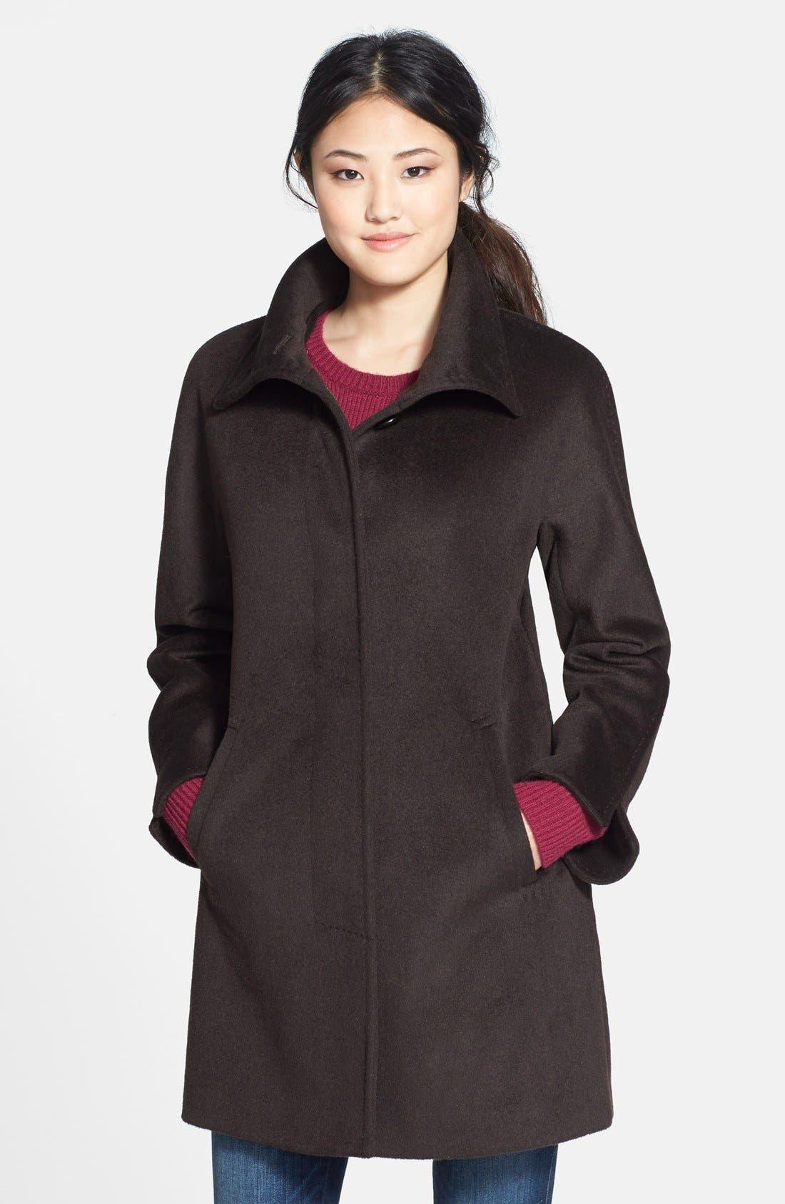 Main Image - Ellen Tracy Funnel Collar Wool Blend Topper (Regular & Petite) (Nordstrom Exclusive)