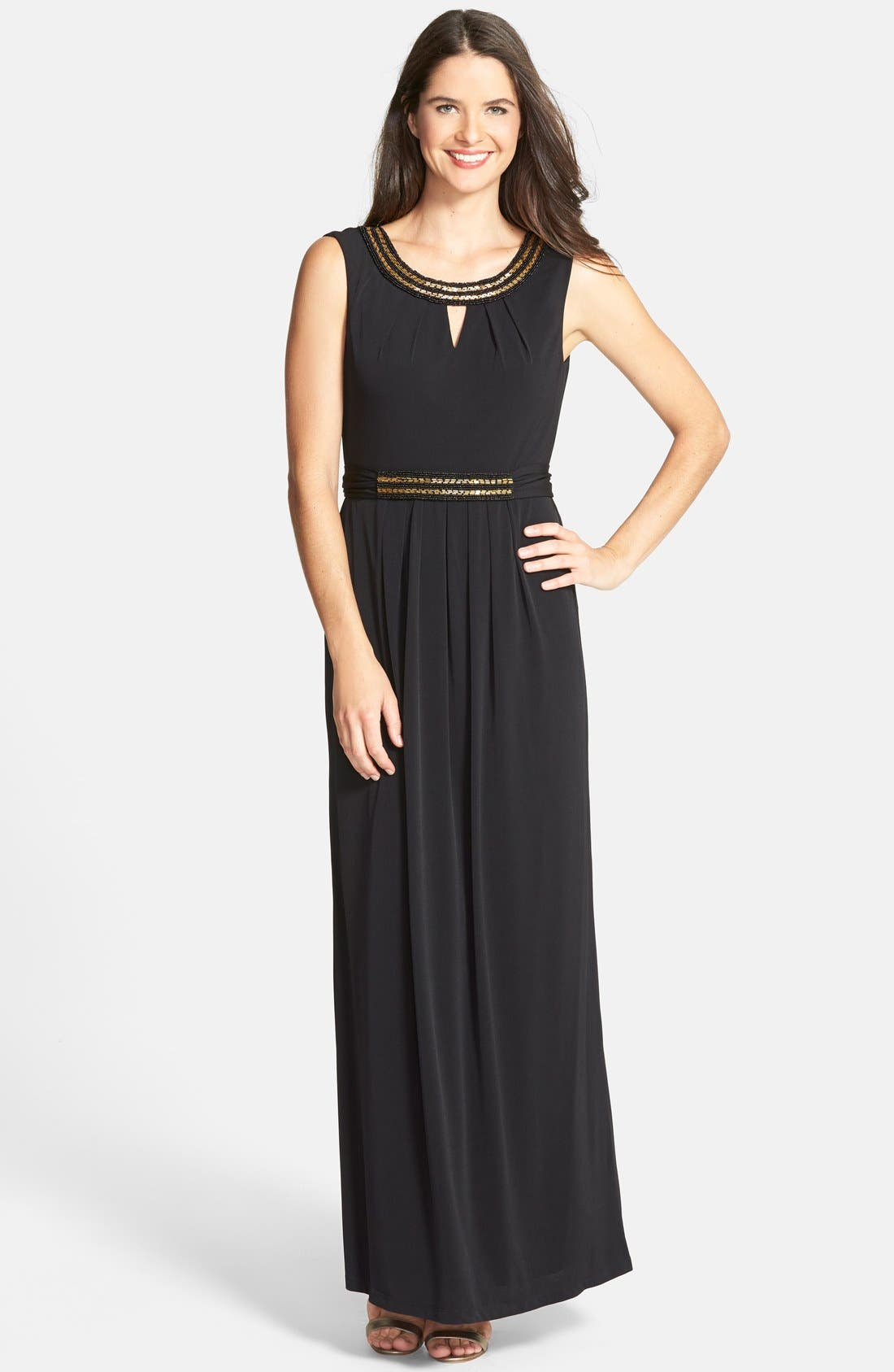 Main Image - Ellen Tracy Embellished Keyhole Column Gown