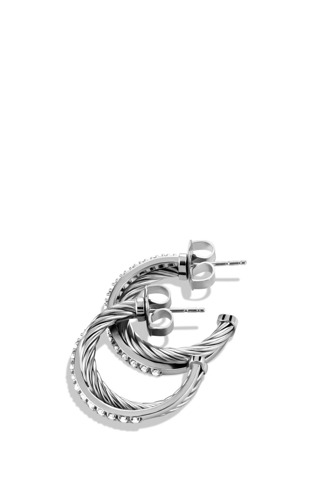 Alternate Image 2  - David Yurman 'Crossover' Small Diamond Hoop Earrings