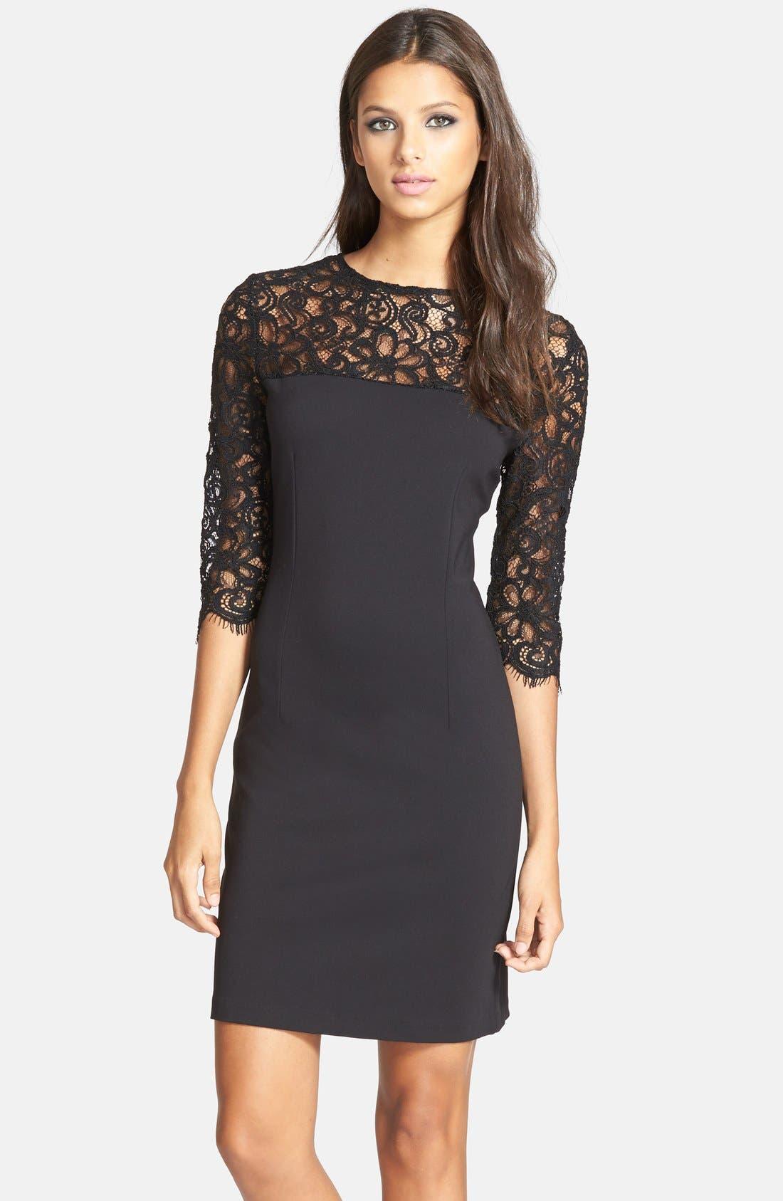 Main Image - BB Dakota 'Chevis' Lace & Ponte Sheath Dress