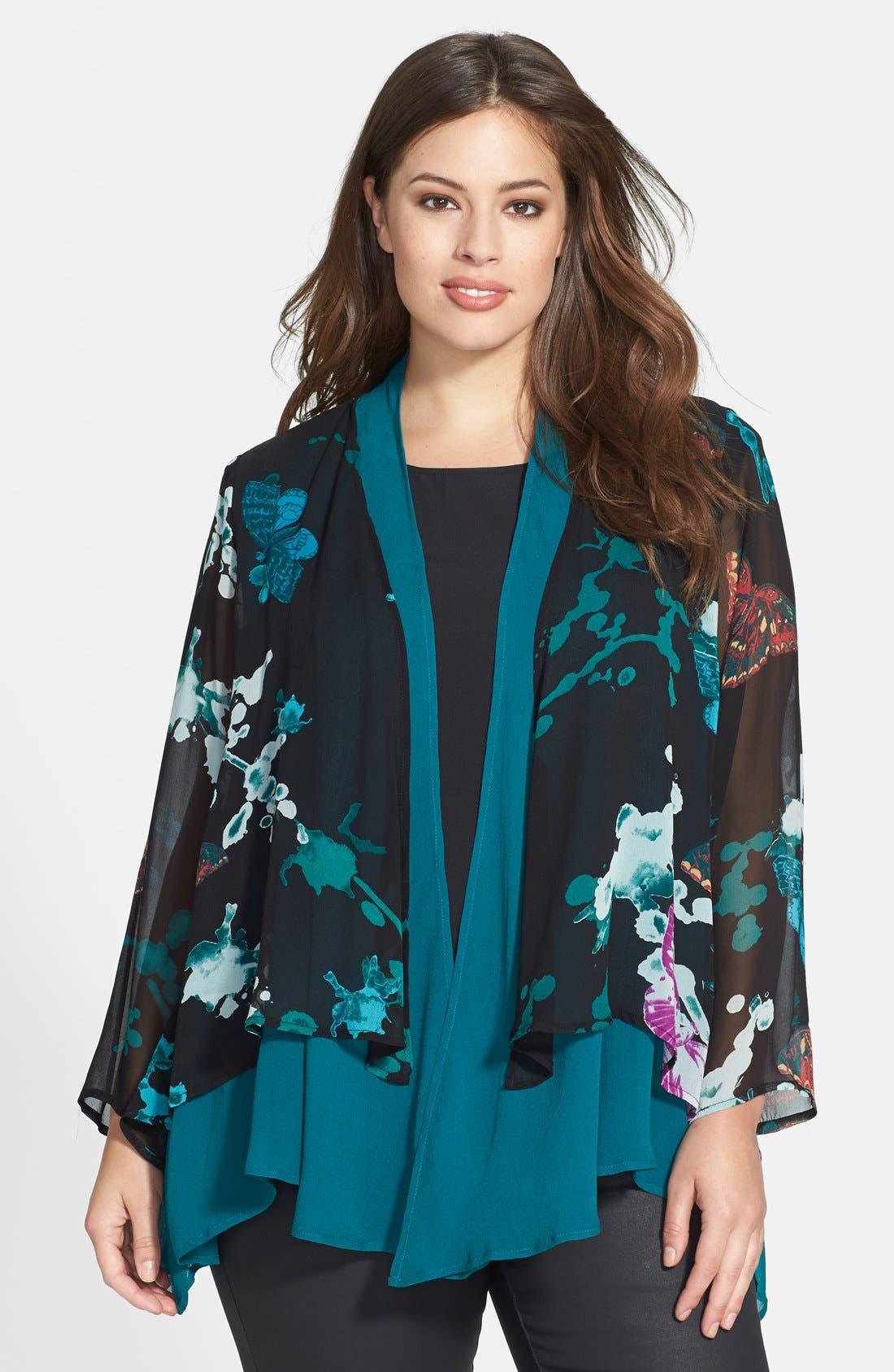 Alternate Image 1 Selected - Citron Silk Kimono Jacket (Plus Size)