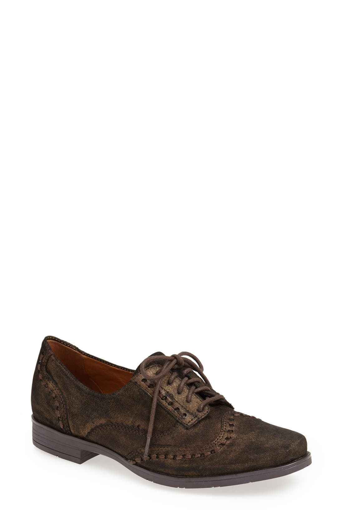 Main Image - Earthies® 'Lisbon' Pearlized Suede Lace-Up Flat (Women)