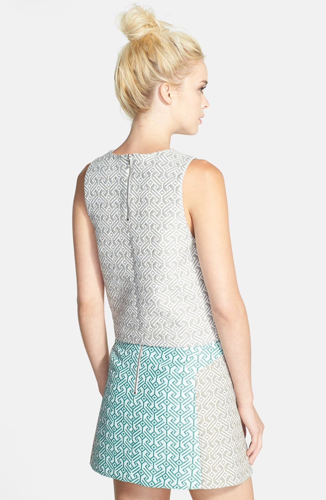 Alternate Image 2  - Topshop Colorblock Jacquard Shell (Nordstrom Exclusive)