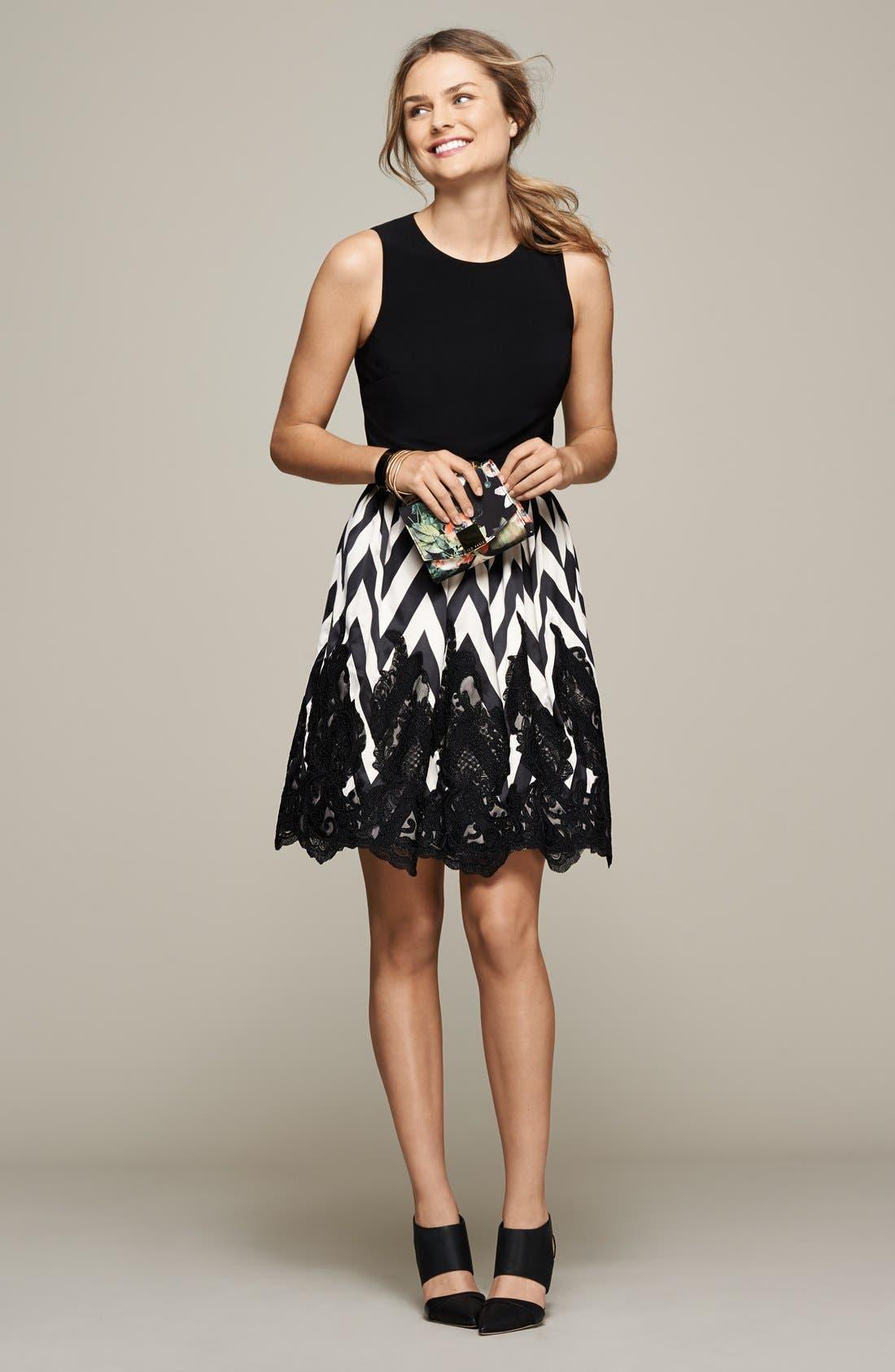 Alternate Image 5  - Eliza J Mixed Media Fit & Flare Dress